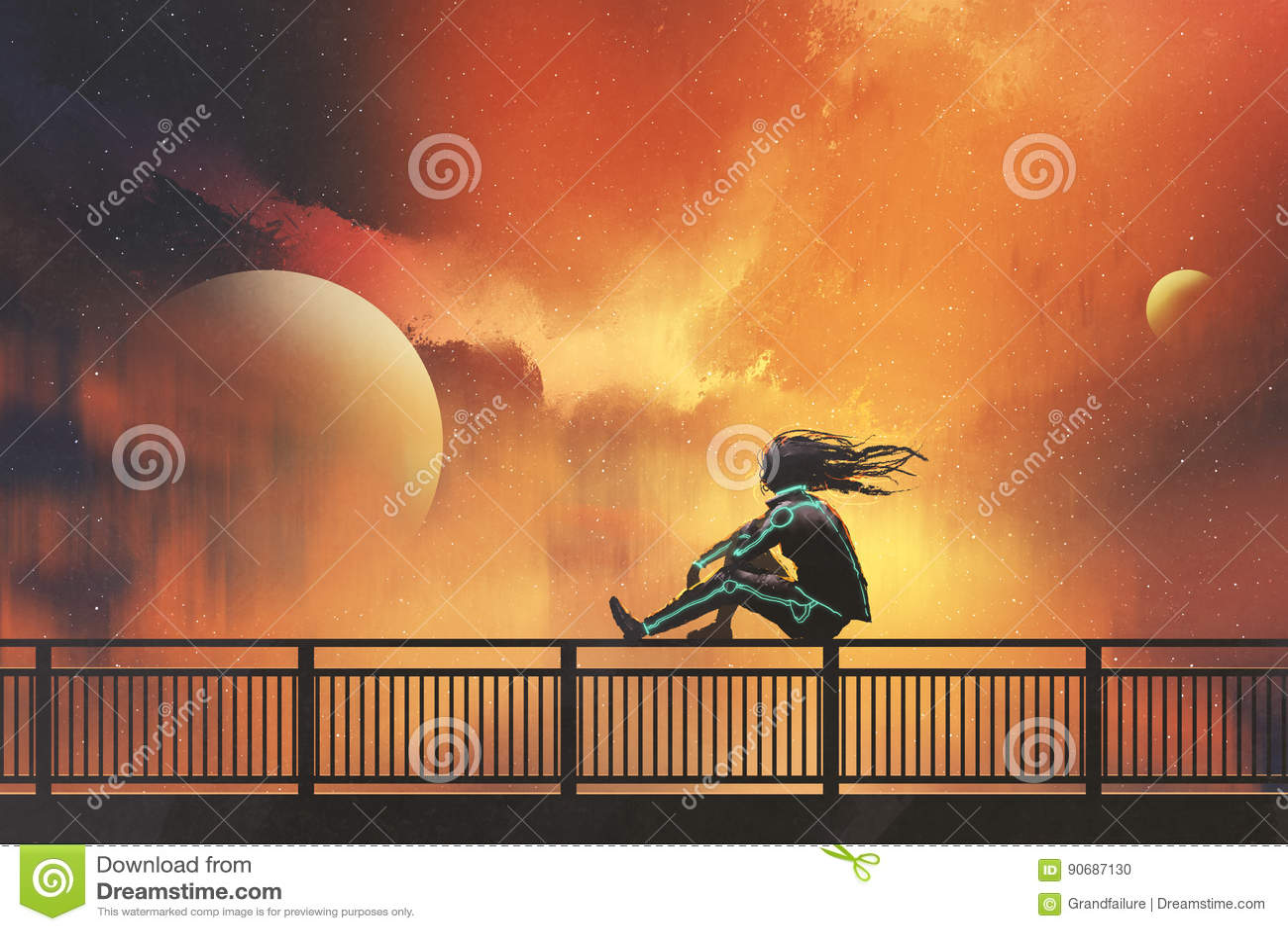 Kobiety obsiadanie na ostro protestować patrzeje pięknego niebo
