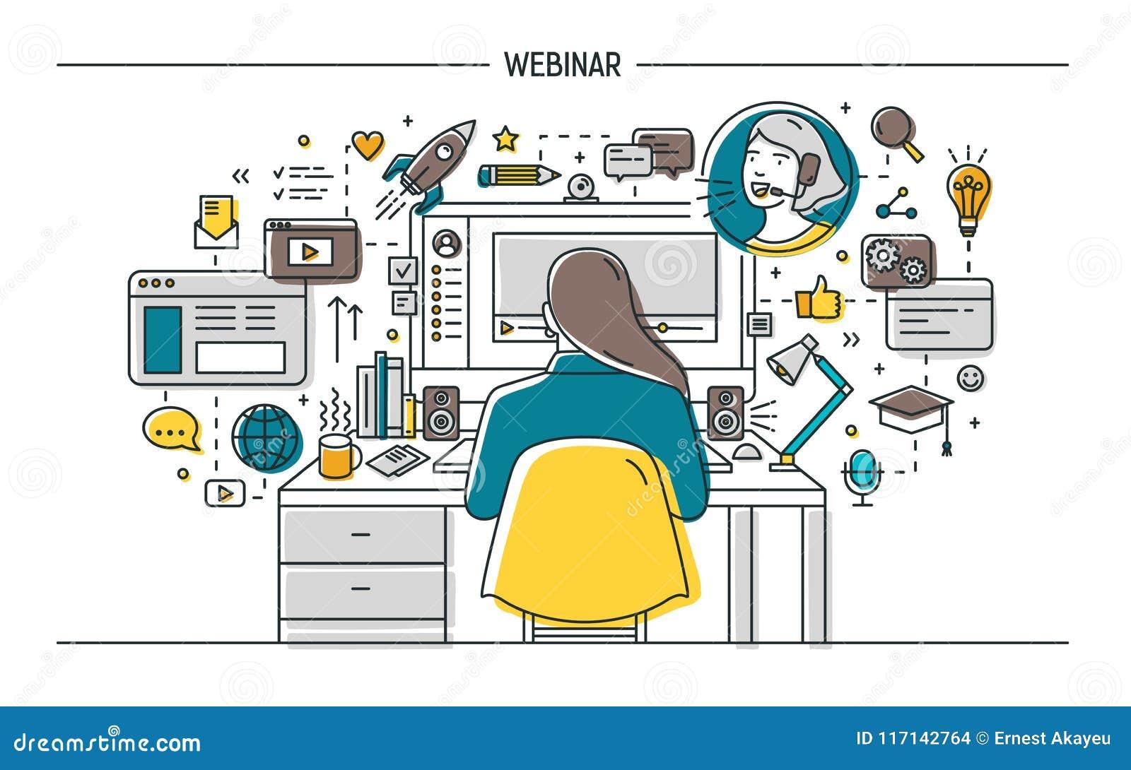 Kobiety obsiadanie przy biurkiem z komputerem, dopatrywanie i słuchanie wykład, wideo podcast lub internet webinar, online,