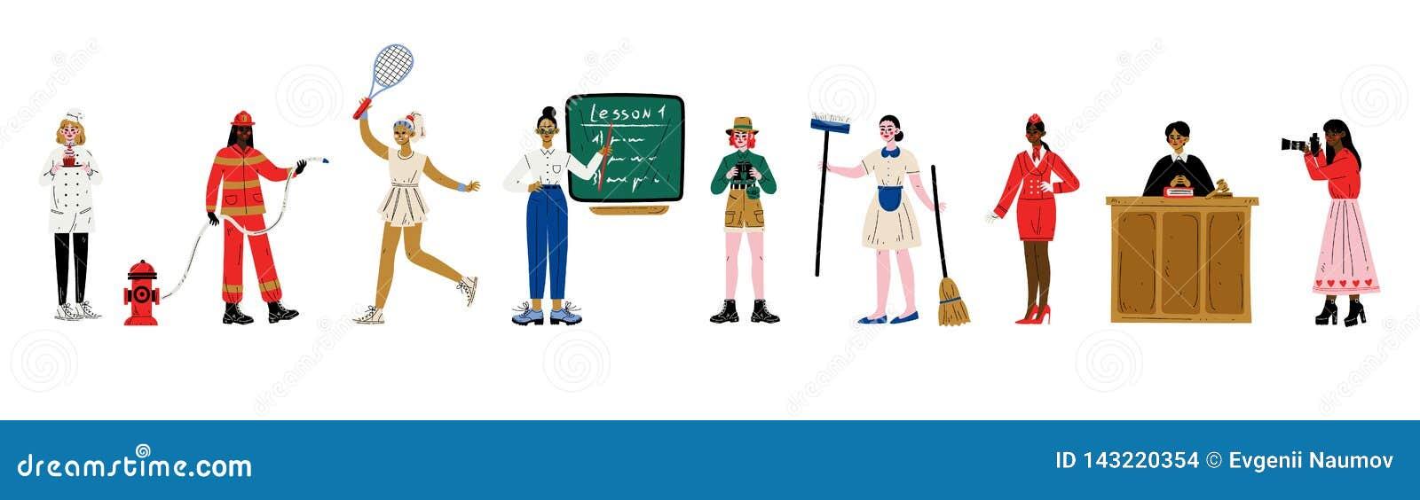 Kobiety Różnorodni zawody Ustawiający, cukierniczka, palacz, gracz w tenisa, nauczyciel, naukowiec, gosposia, stewardesa, sędzia