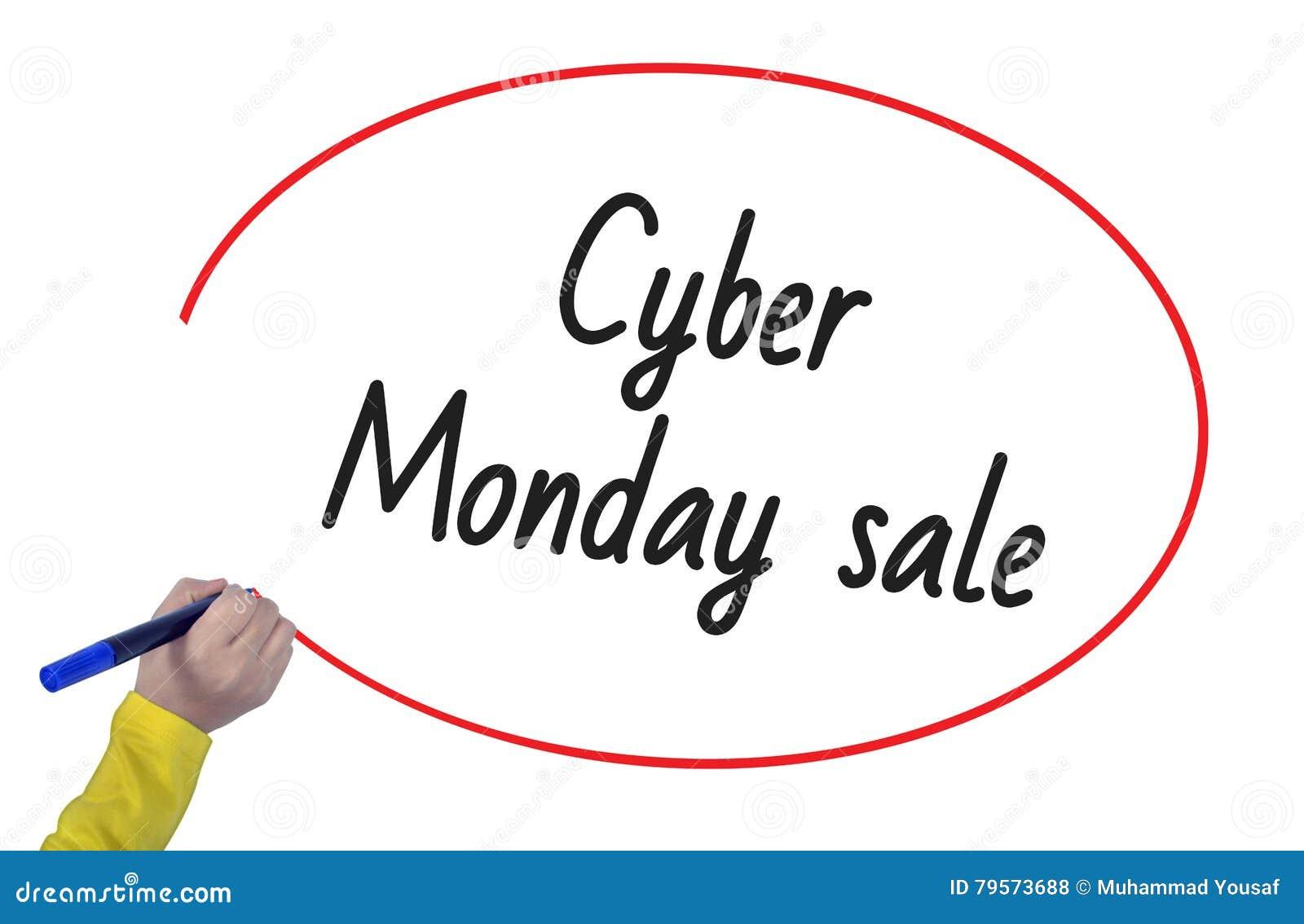 Kobiety ręki writing cyber Poniedziałku sprzedaż z markierem
