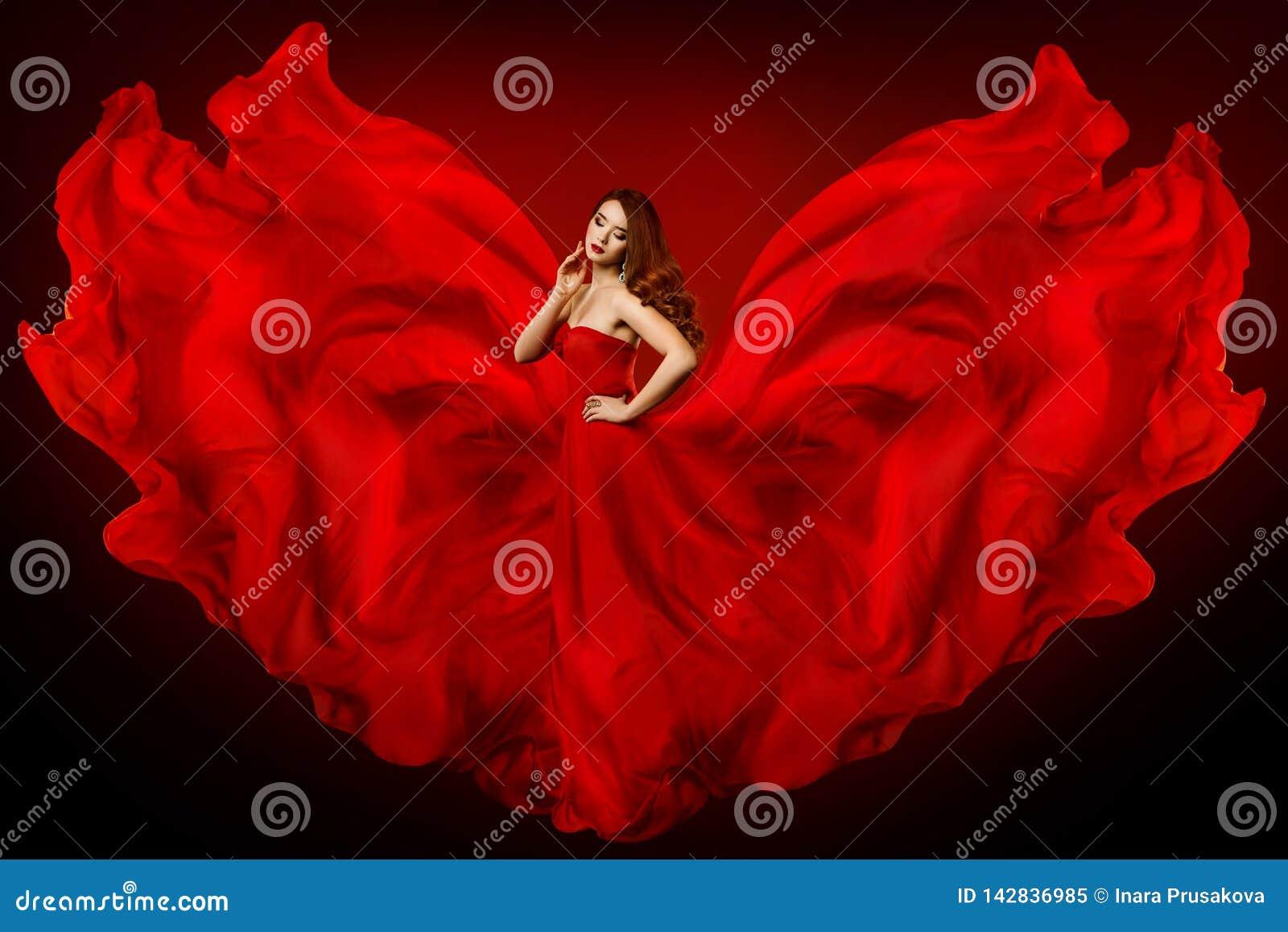 Kobiety rewolucjonistki suknia, moda model w Długim Jedwabniczym togi falowania płótnie jak skrzydła, dziewczyna w Latać Trzepotl