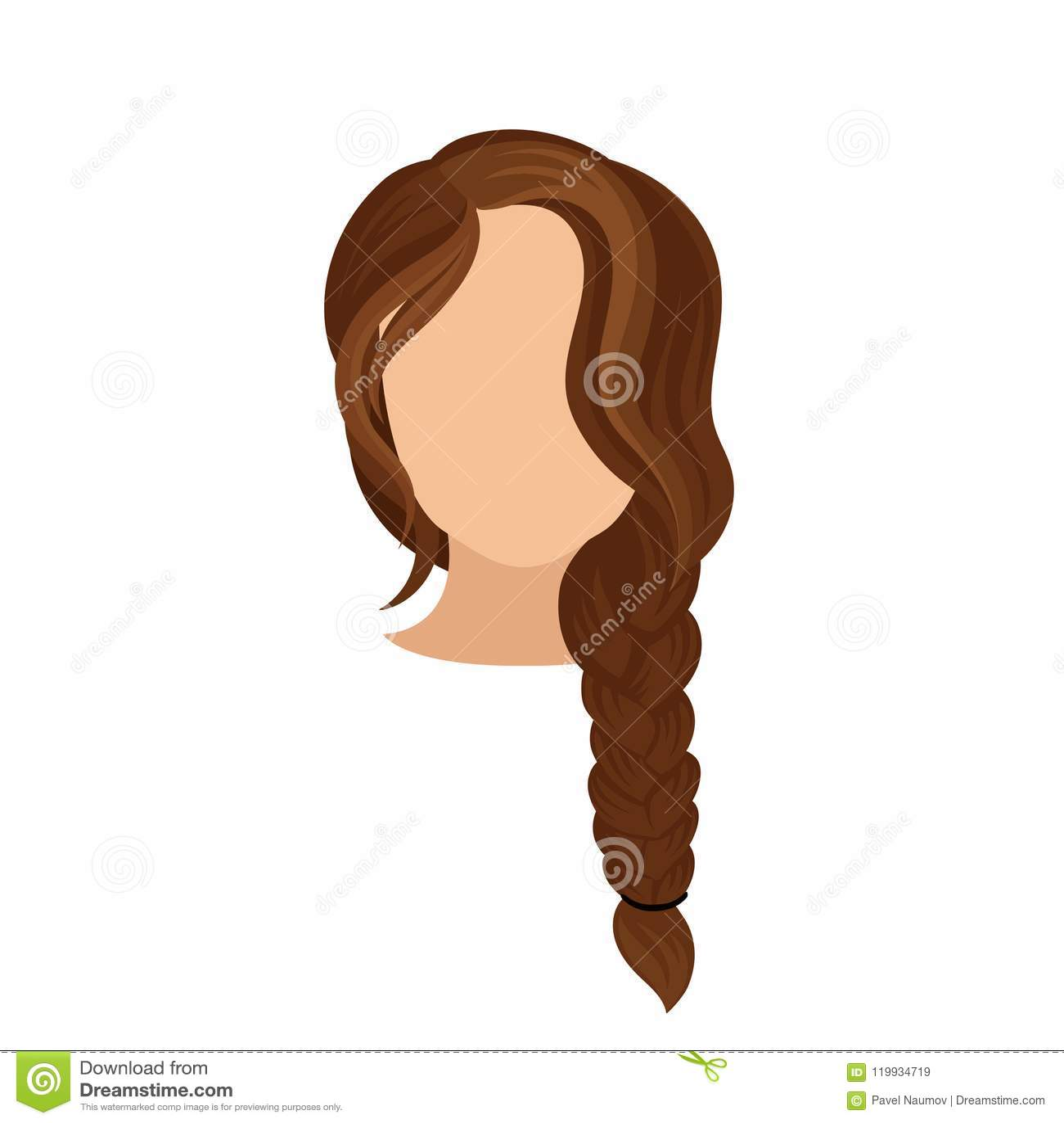 Kobiety S Głowa Z Długim Francuskim Warkoczem Ciemnego Brązu