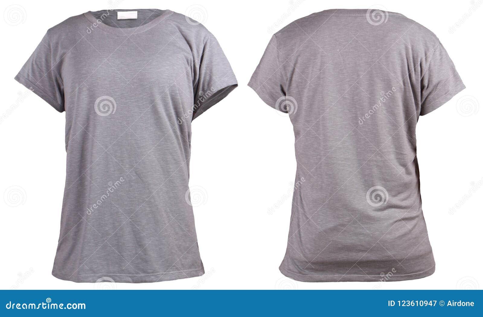 b0c85dc119a3aa Kobiety ` s popielaty koszulki, przodu i plecy tylni widoku szablon, Pusty  koszula egzamin próbny up dla druku projekta Odizolowywający na bielu