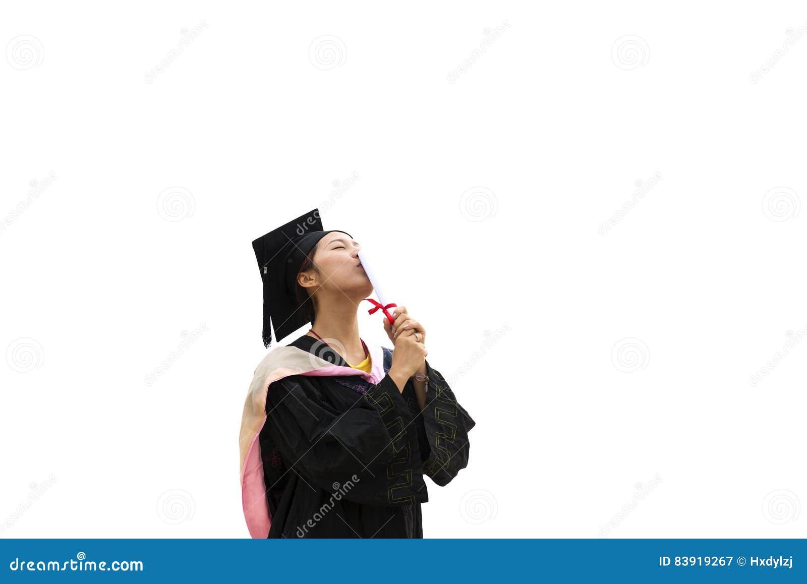 Kobiety skalowania magisterska jest ubranym toga