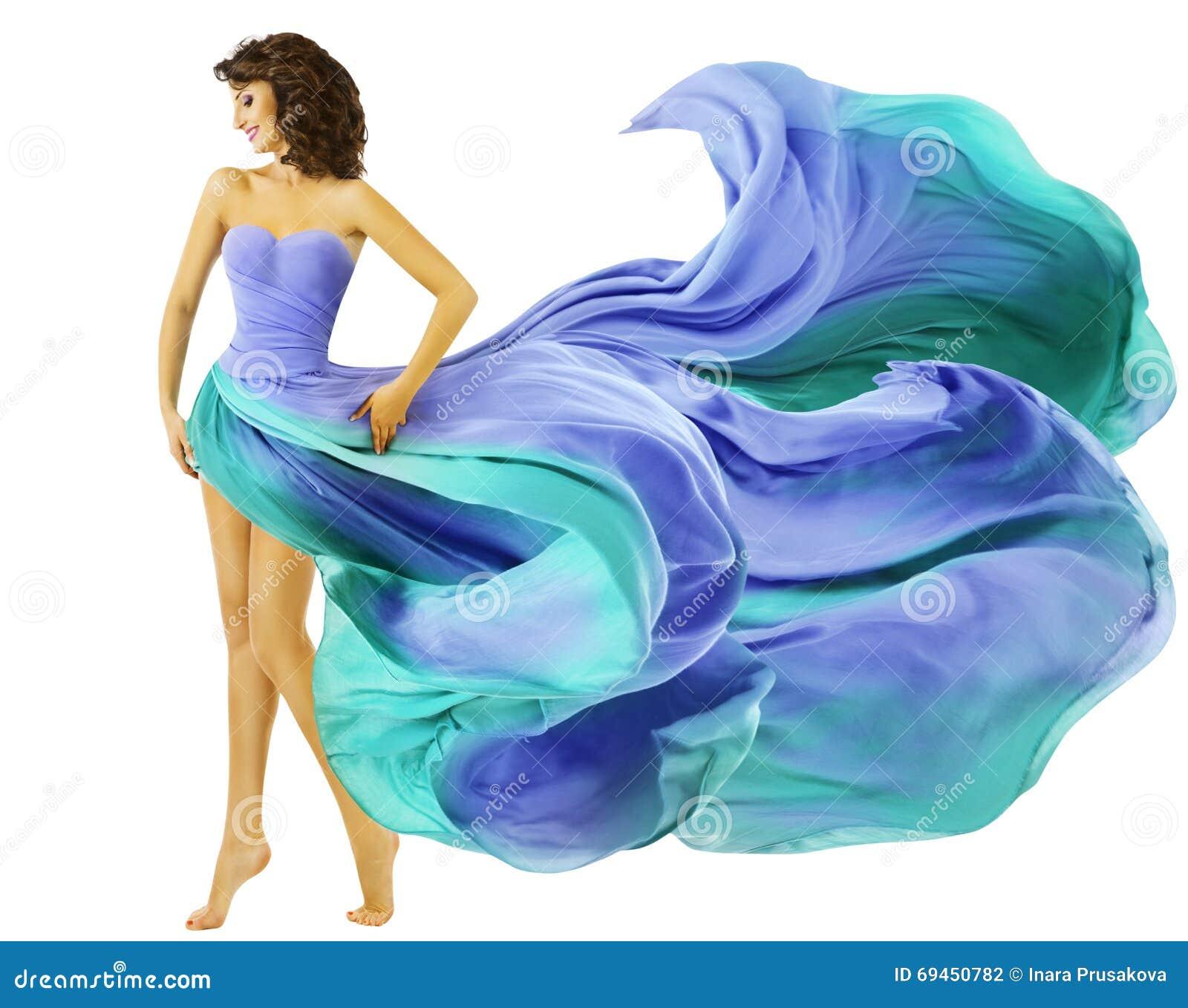 Kobiety Smokingowa Latająca tkanina, mody dziewczyna w Błękitnym falowania lecie Sk