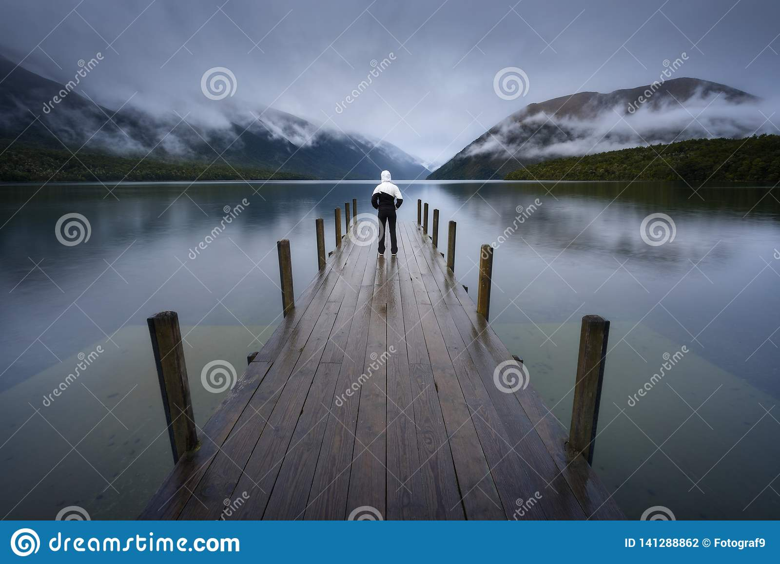Kobiety sylwetka w Romantycznym nabrzeżu na Jeziornym Rotoiti, widok przegapia mglistą Świątobliwą Arnaud grań, wszystkie część N