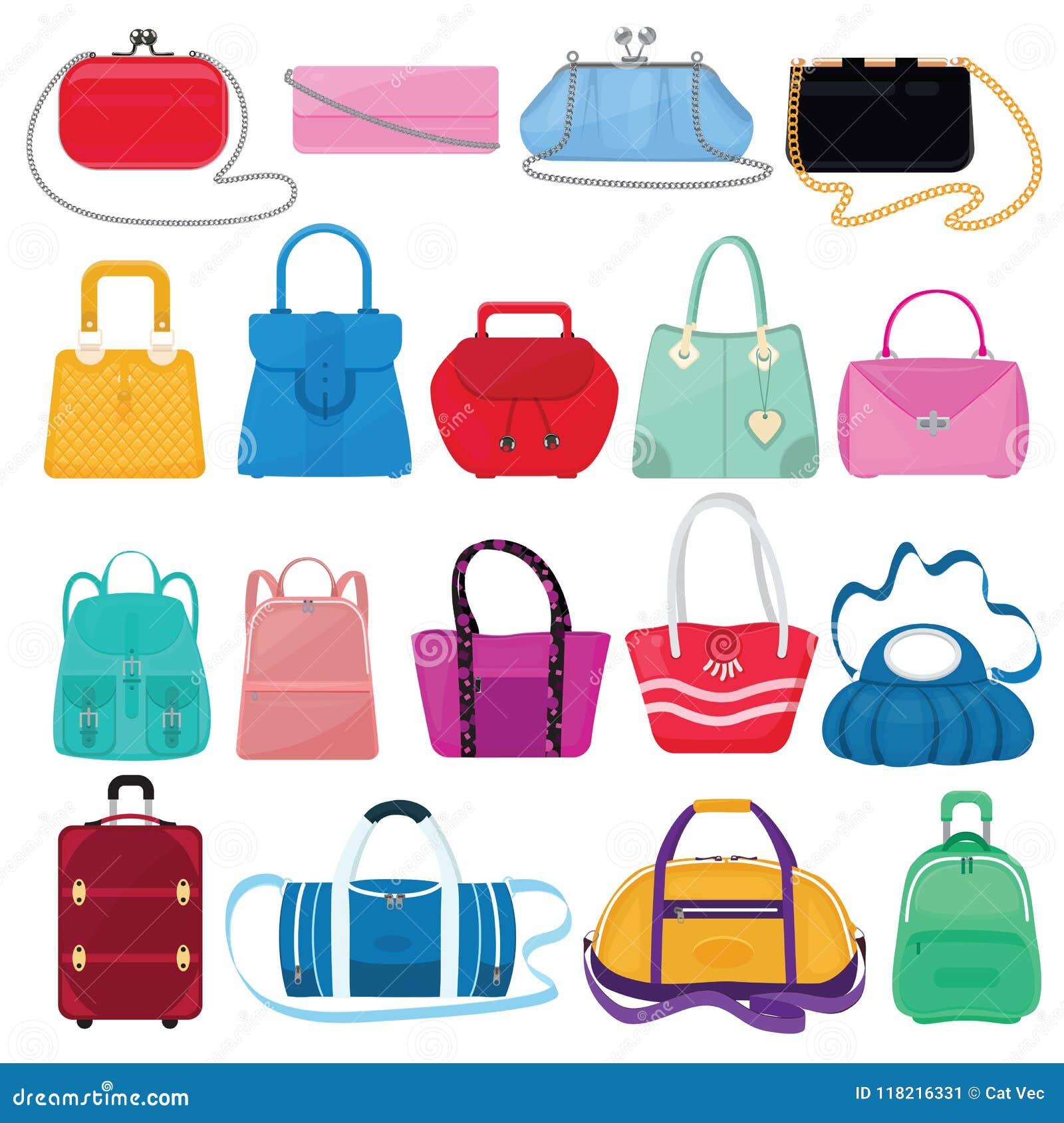 Kobiety torby wektorowe dziewczyny torebka, kiesa, torba na zakupy lub sprzęgło od moda sklepu ilustracyjnego miechowatego setu k