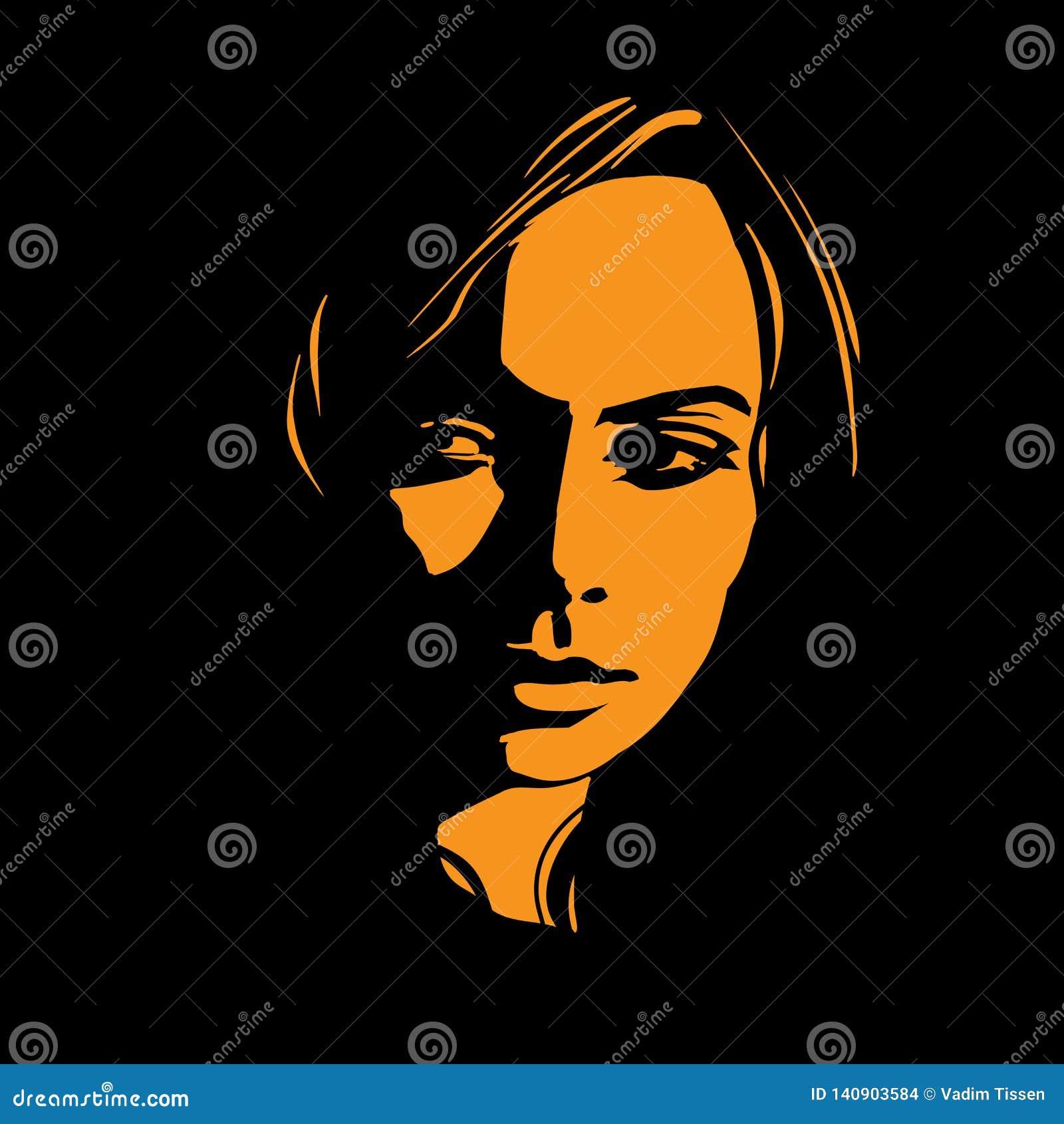 Kobiety twarz w kontrasta świetle wektor ilustracja