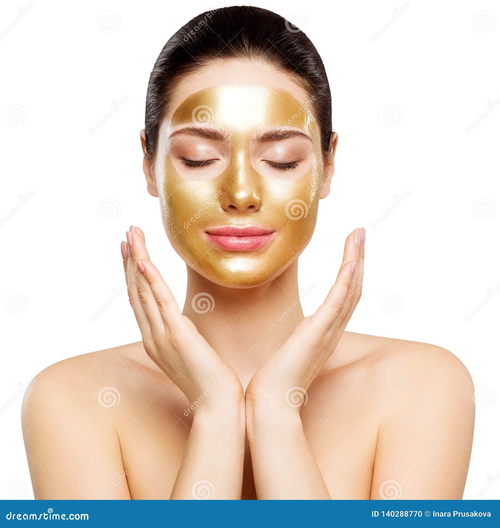 Kobiety złota maska, Piękny model z Złotym skóra kosmetykiem, piękno Skincare i traktowanie,