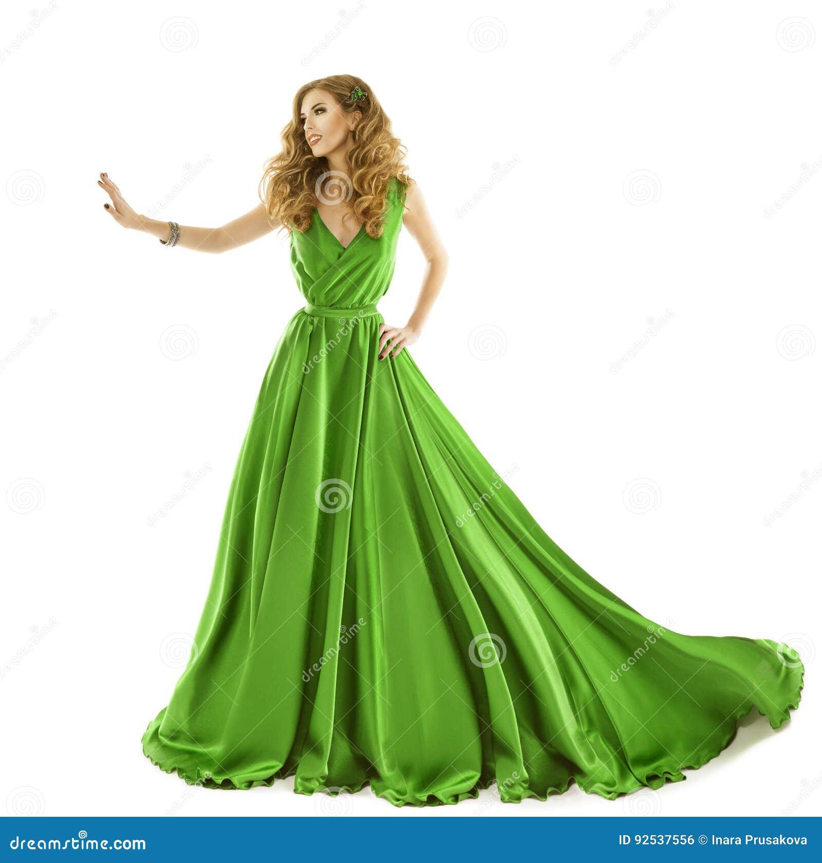 Kobiety zieleni suknia, moda model w Długim Jedwabniczym toga dotyku ręką