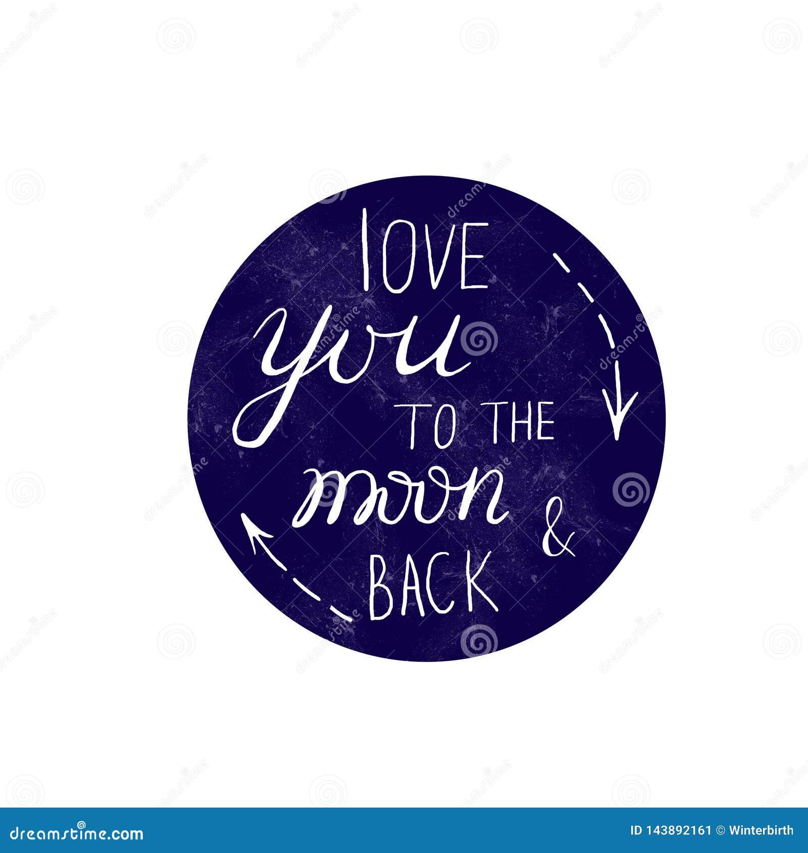 Kocha ciebie tylny literowanie skład na błękitnej księżyc i księżyc