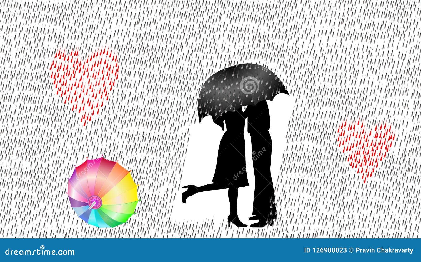 Kocha pary w deszczu, wektorowa ilustracja, miłości pojęcie