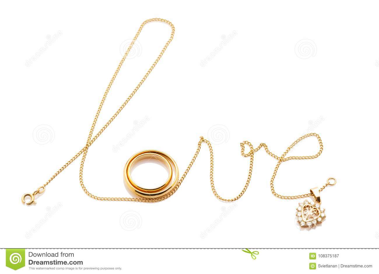 Kocha słowo od łańcuchu z pierścionkami odizolowywającymi na bielu