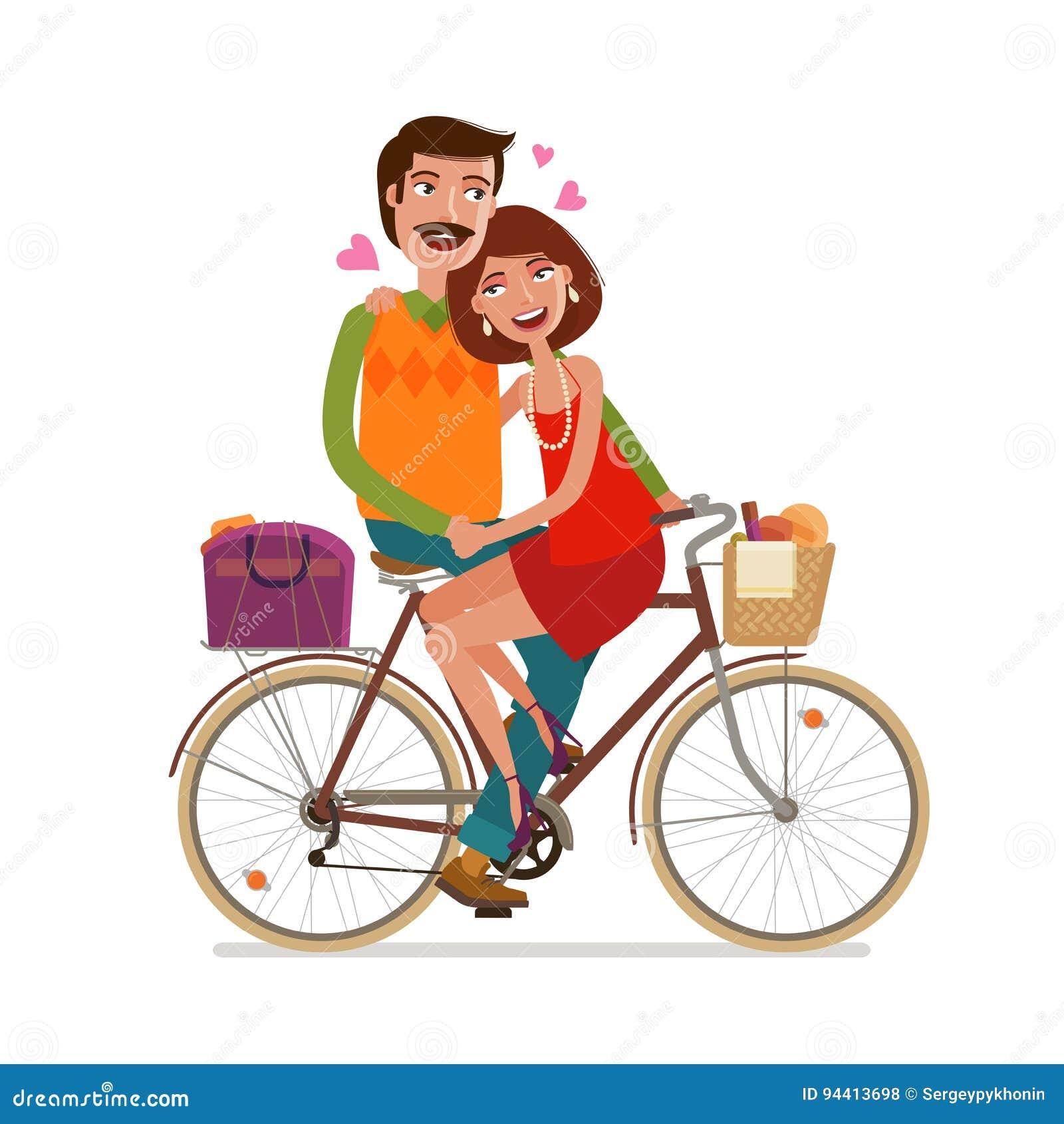 Kochająca pary jazda na pinkinie bicyklem obcy kreskówki kota ucieczek ilustraci dachu wektor