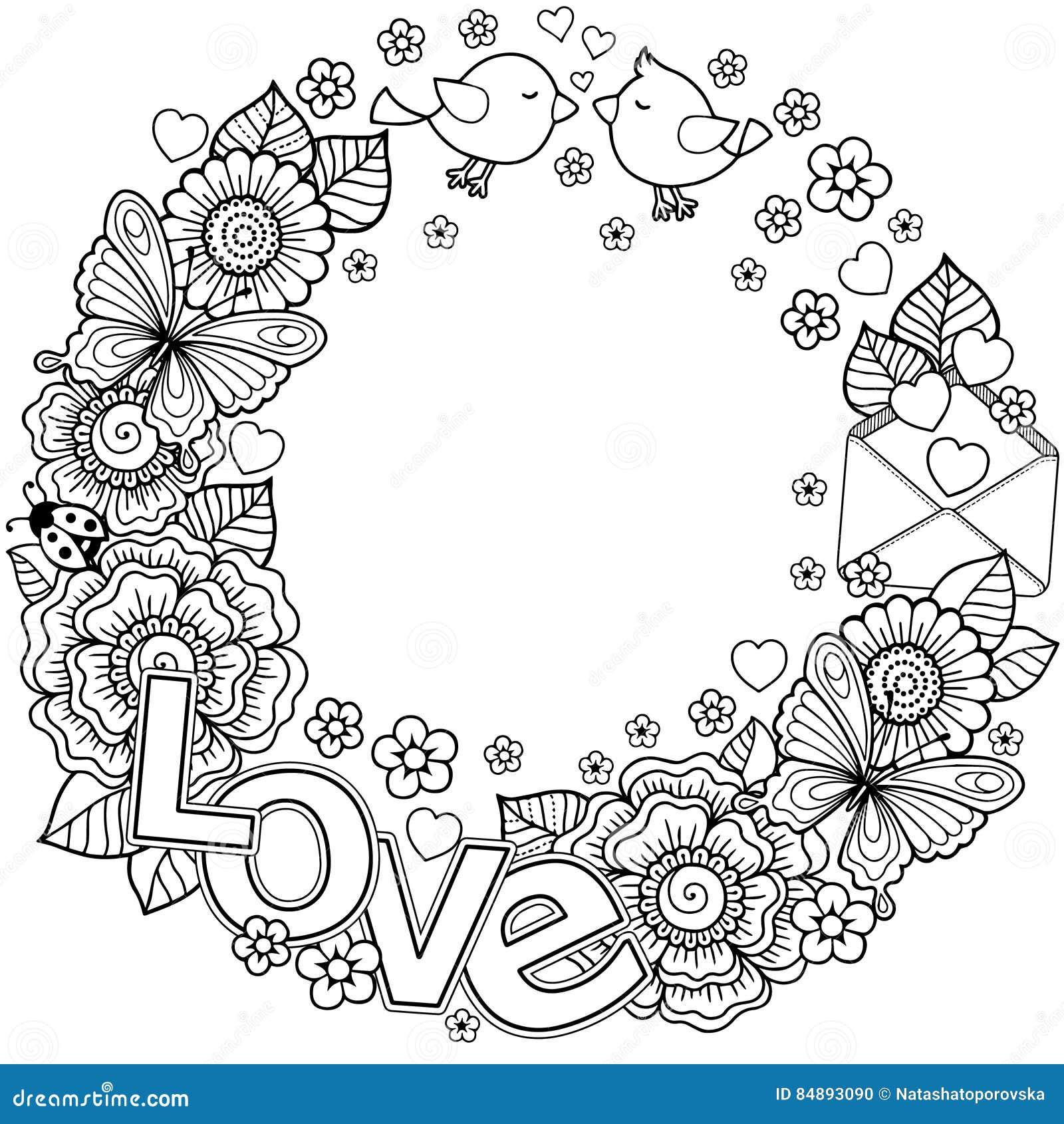 Kocham cię Rounder rama robić kwiaty, motyle, ptaków całować i słowo miłość,