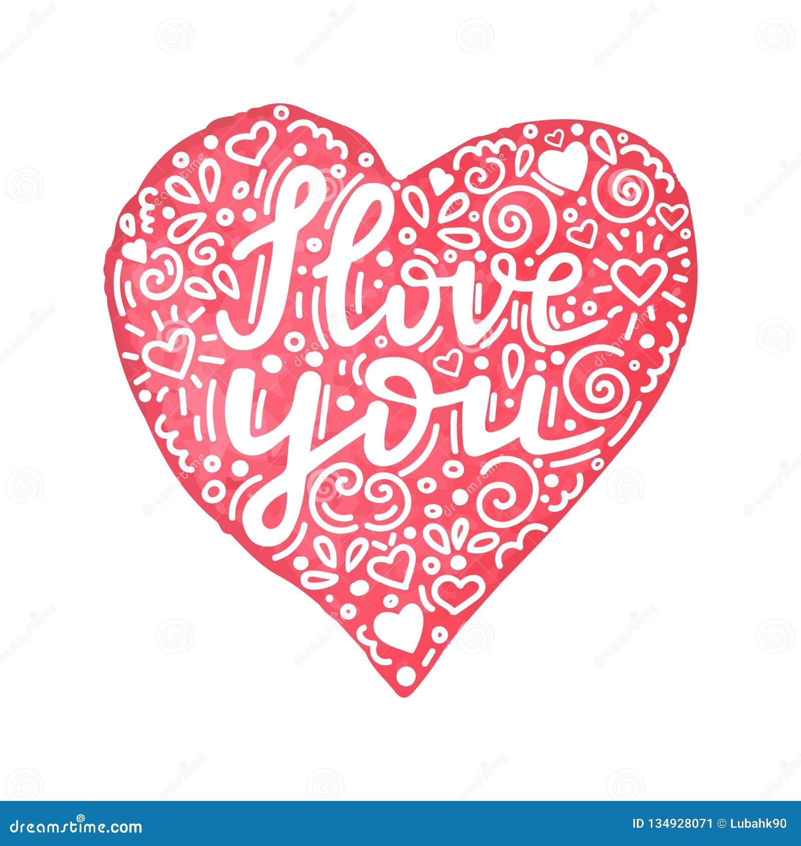 Kocham ciebie ręka pisać wycena w akwareli ręka rysującym sercu z kwiecistym ornamentem Ręcznie robiony walentynka dnia karta