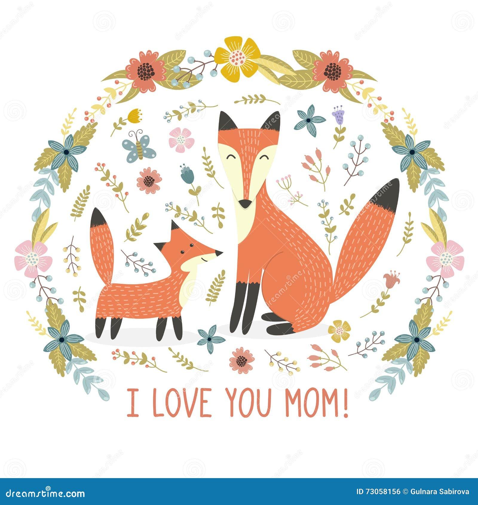 Kocham mamy kartka z pozdrowieniami z Macierzystym lisem i jej dzieckiem