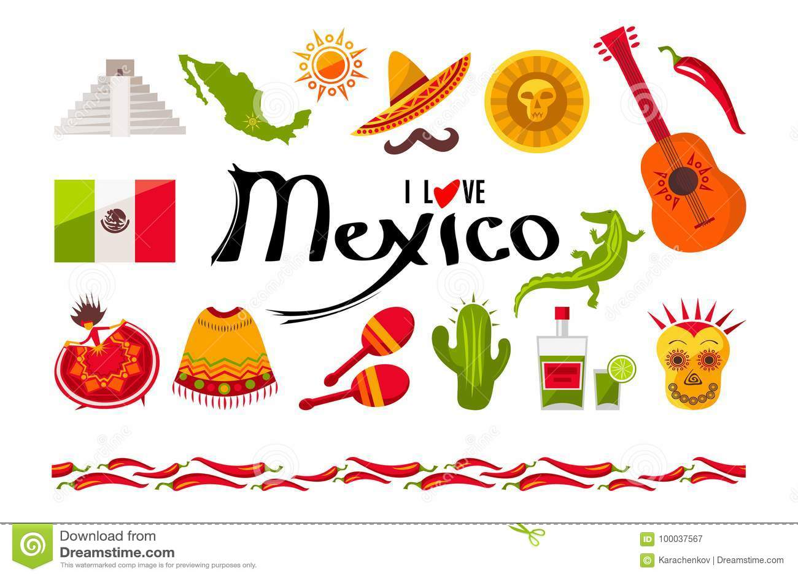 Kocham Meksyk ikony set