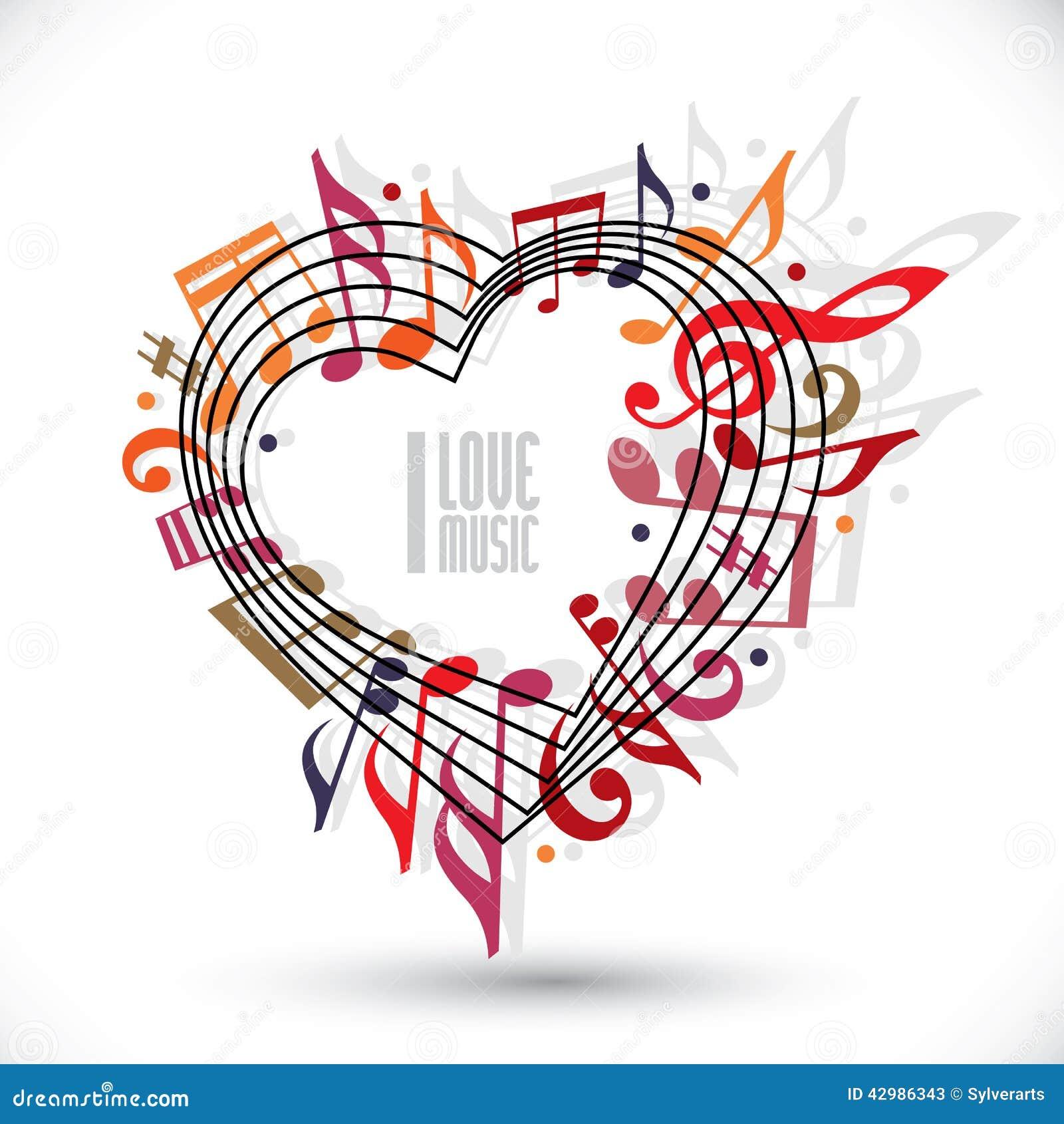 Kocham muzykę, serce robić z muzykalnymi notatkami i clef,