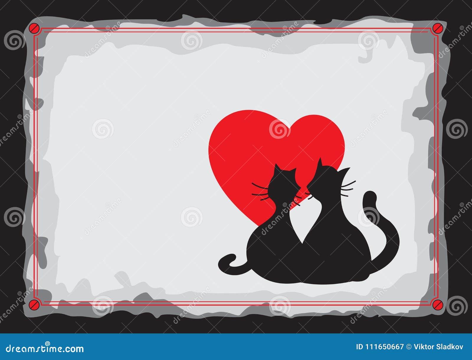 Kochanków czarni koty sylwetka