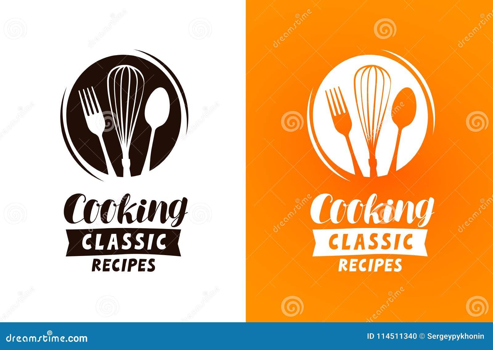 Kochen des Logos oder des Aufklebers Lebensmittel, Küchekonzept, Vektorillustration
