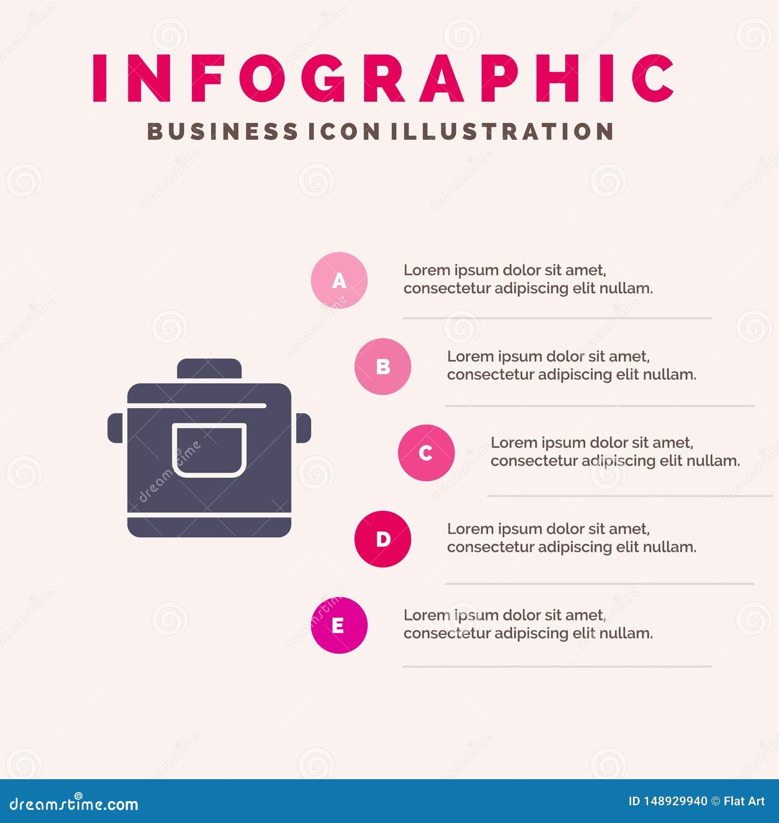 Kocher, Küche, Reis, Hotel Infographics-Darstellungs-Schablone 5 Schritt-Darstellung