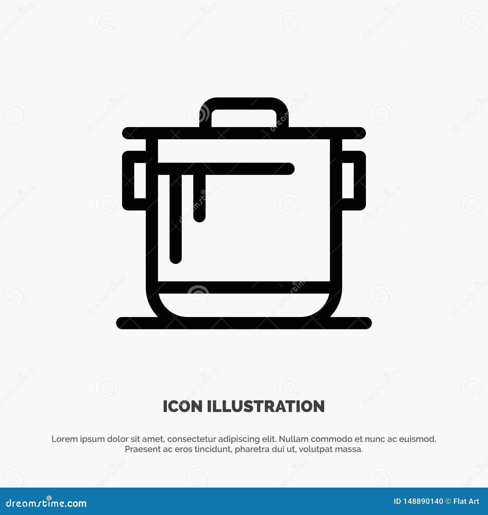 Kocher, Küche, Reis, Koch Vector Line Icon