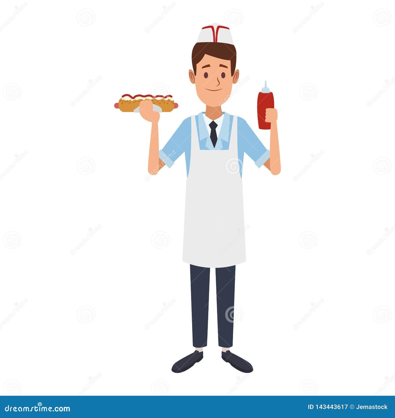 Kocher mit Würstchen und Ketschup