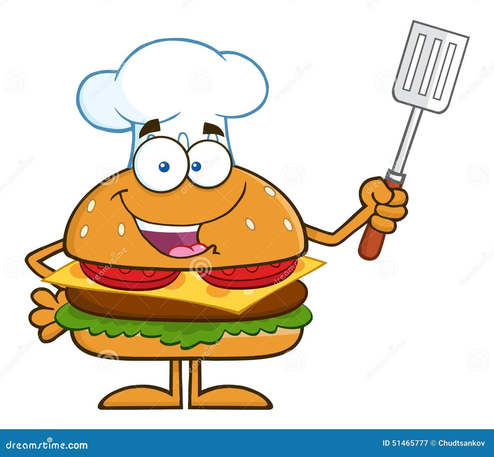 Kock Hamburger Cartoon Character som rymmer en placerad spatel