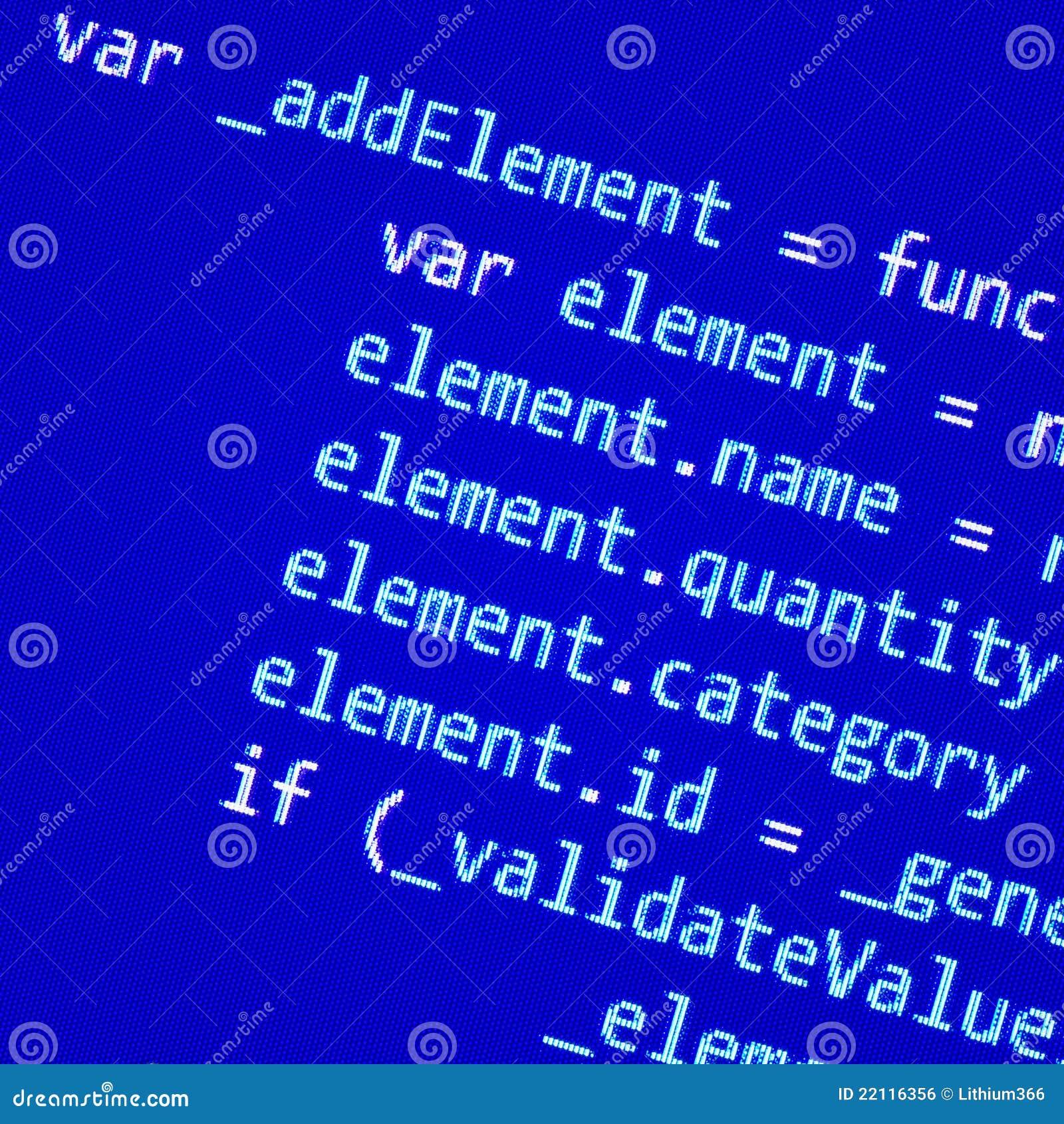 Kodu programowania ekran