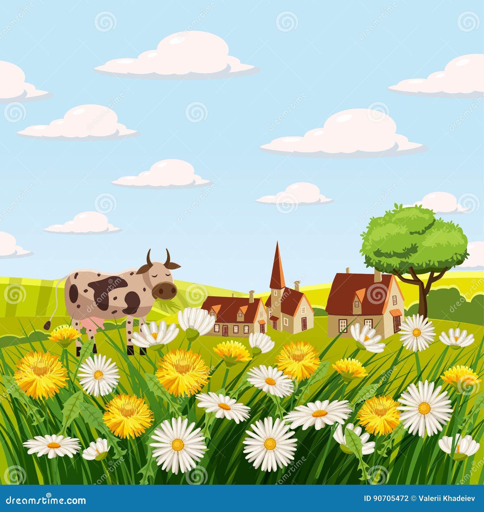 Koe, de Lentelandschap, landbouwbedrijf, gebieden, weiden, madeliefjes en paardebloemen