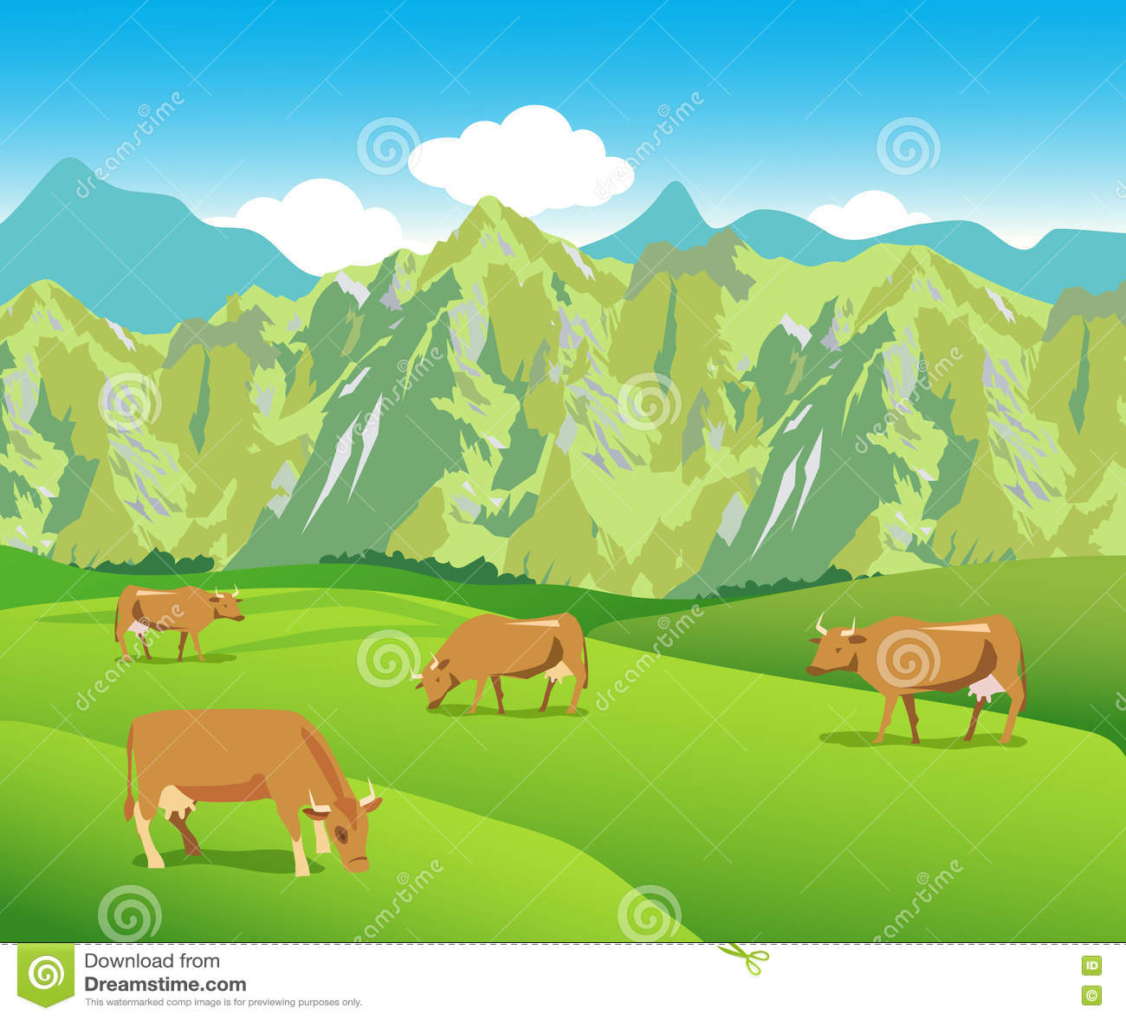 Koeien op de Alpiene weiden Bergenwaaier en Groene Vallei
