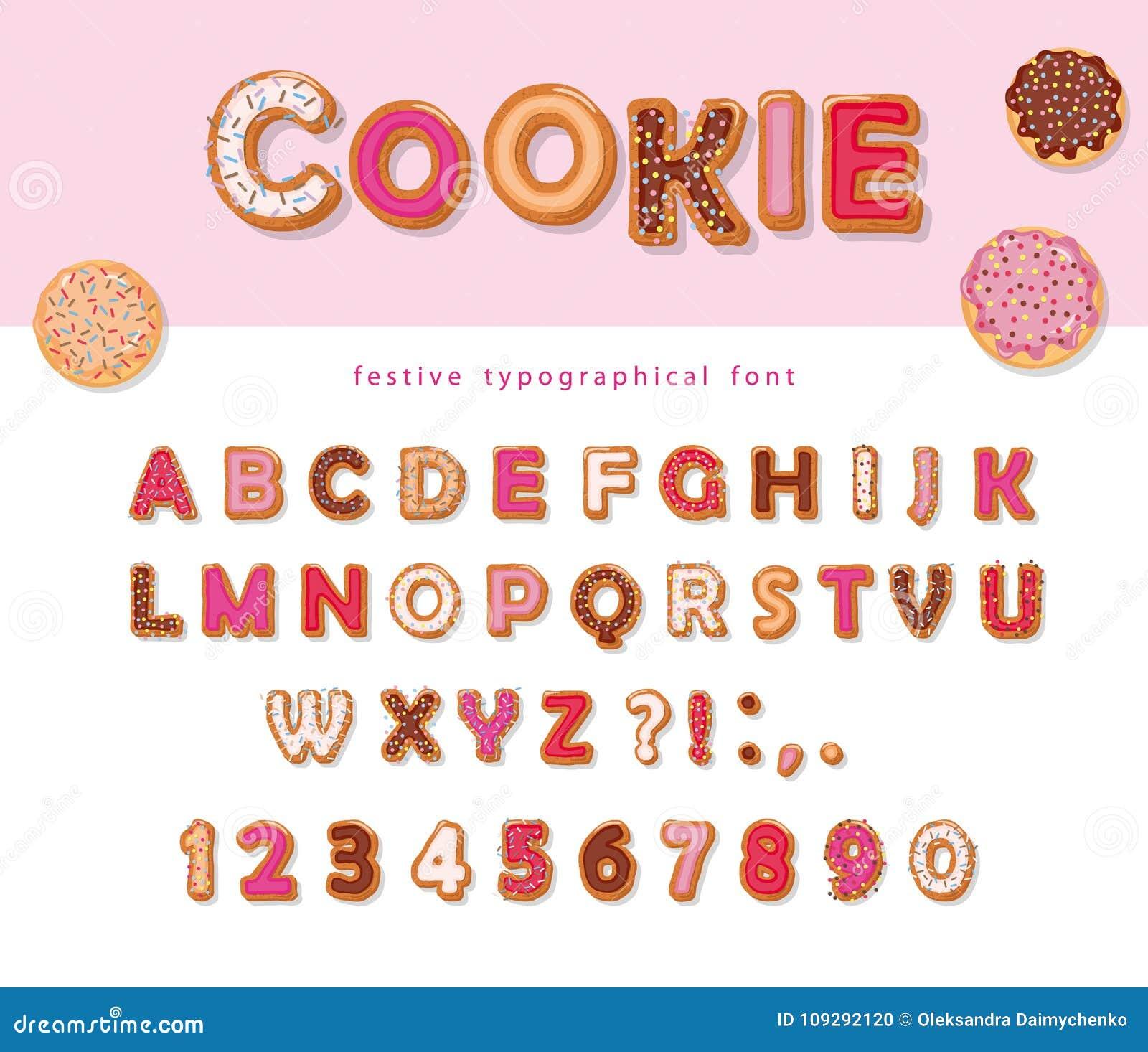 Abc Verjaardag.Koekjeshand Getrokken Decoratieve Doopvont Letters En