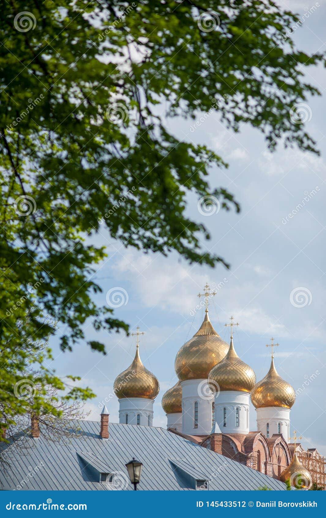 Koepels van een godsdienstig gebouw Kathedraal met zilveren koepels tegen de hemel