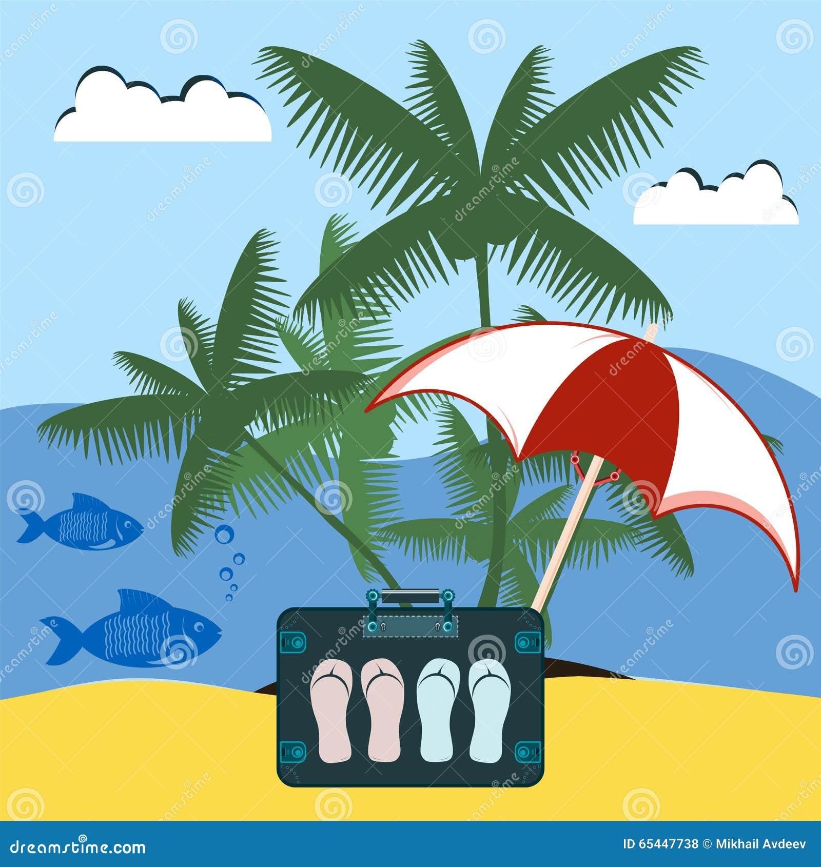 Kofferreisender mit Schiefern unter dem Strandschirm und der Palme