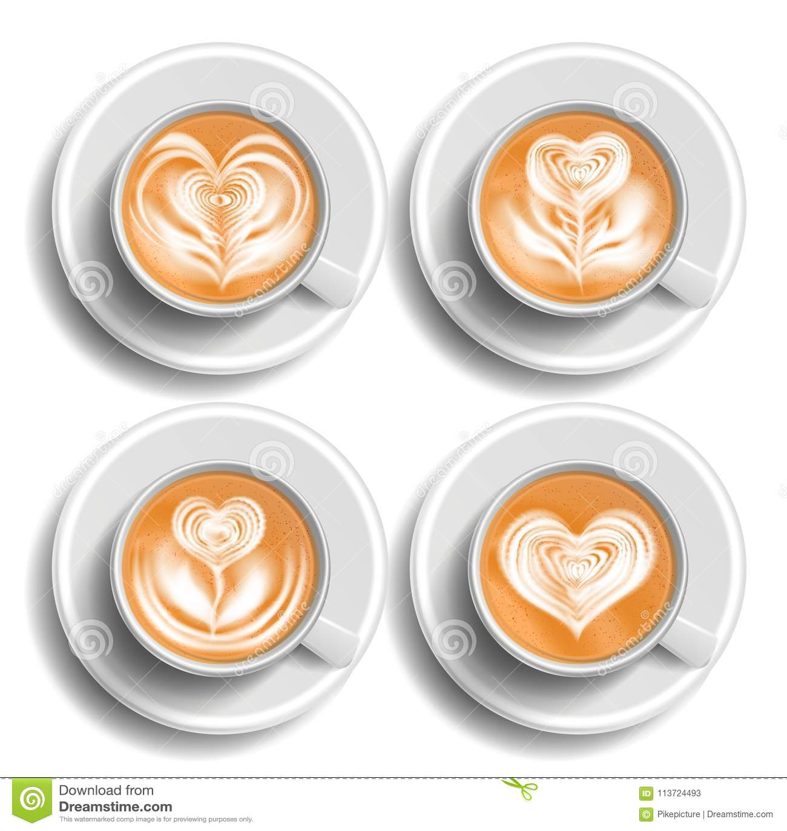Koffie Art Cup Set Vector Hart Hoogste mening Hete cappuchinokoffie De Drank van de snel Voedselkop Witte mok Geïsoleerd realisti