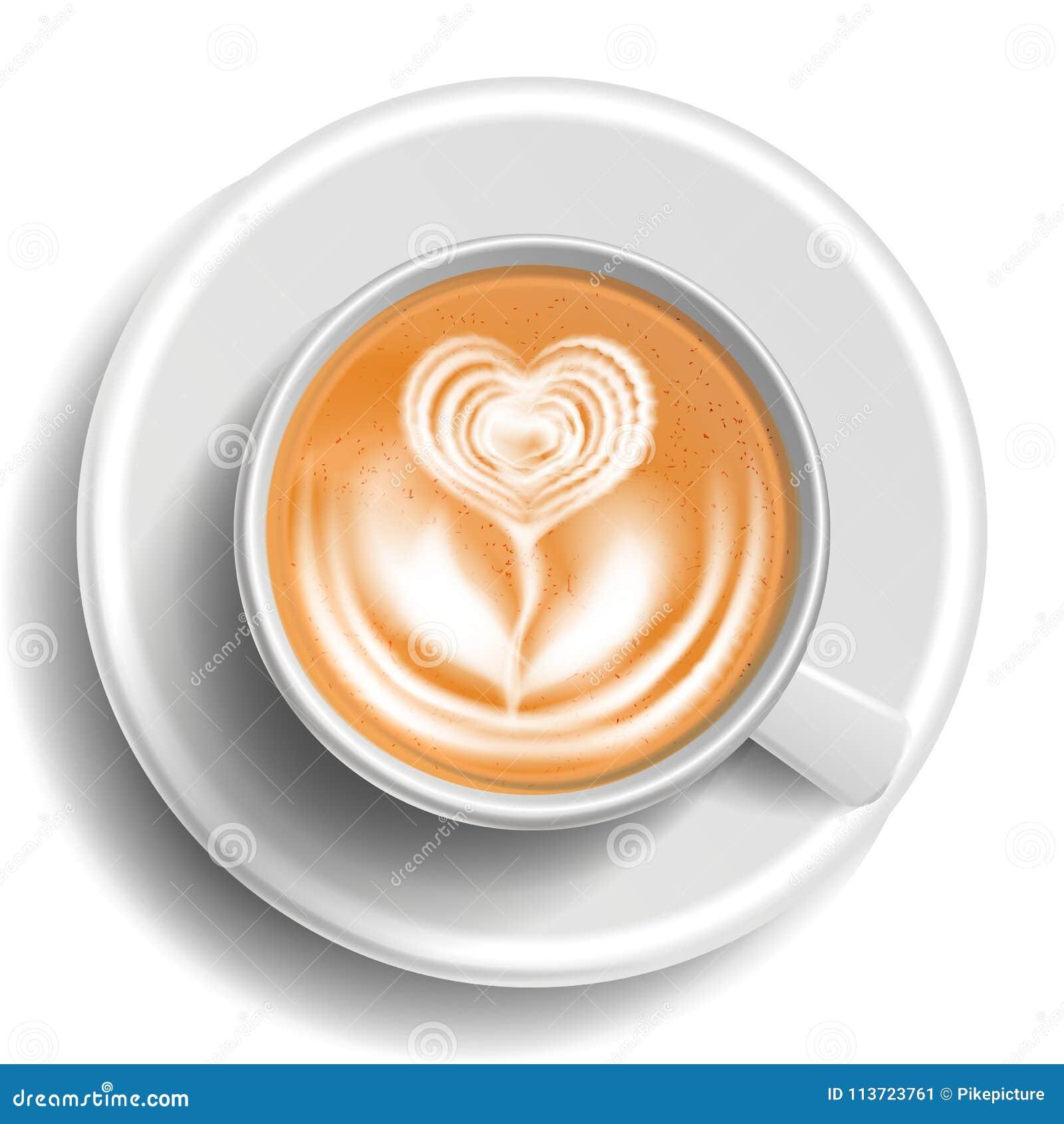 Koffie Art Cup Vector Hoogste mening De hete Koffie van Cappuccino s Melk, Espresso De Drank van de snel Voedselkop Witte mok rea