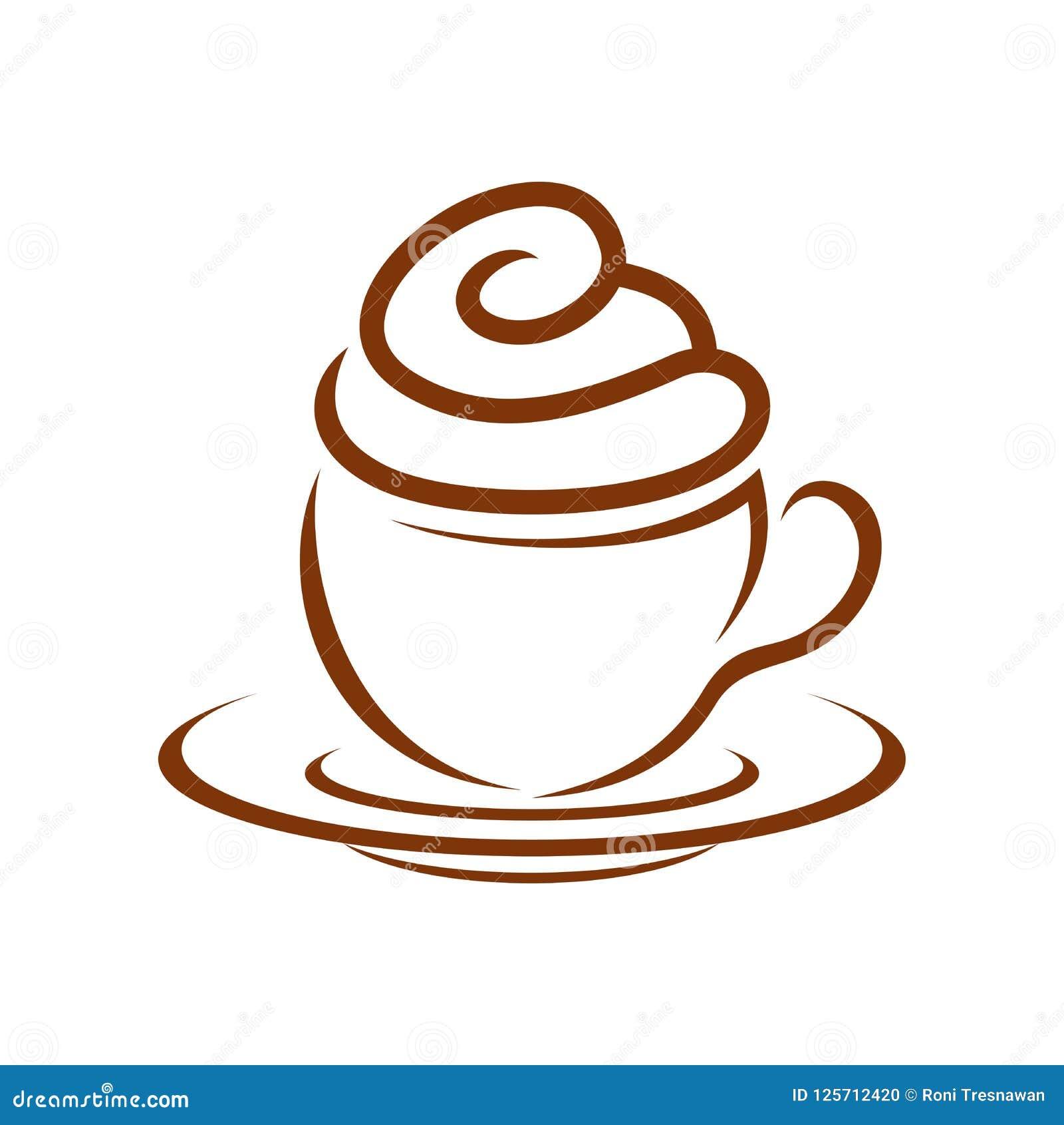 Koffie Cupcake Whip Cream Breakfast Symbol Design
