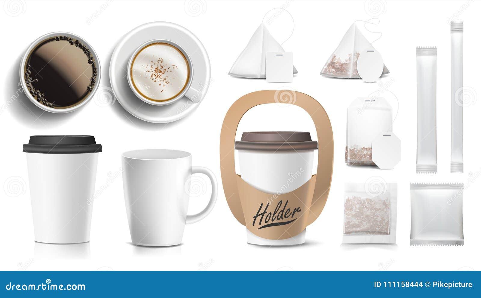Koffie de Vector van het Verpakkingsontwerp De koppen bespotten omhoog De witte mok van de Koffie Ceramisch en Document, Plastic