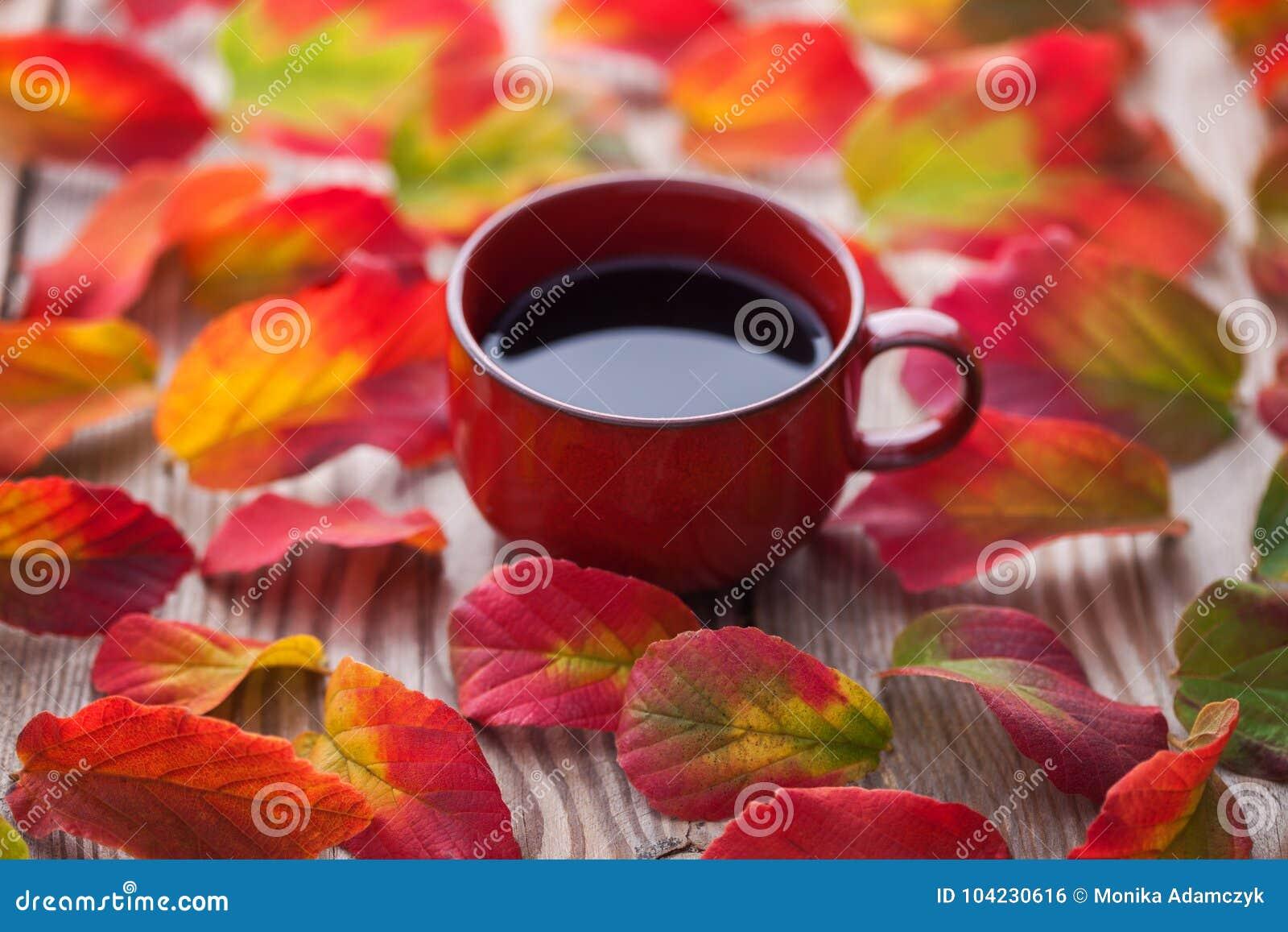 Koffie met de herfstbladeren