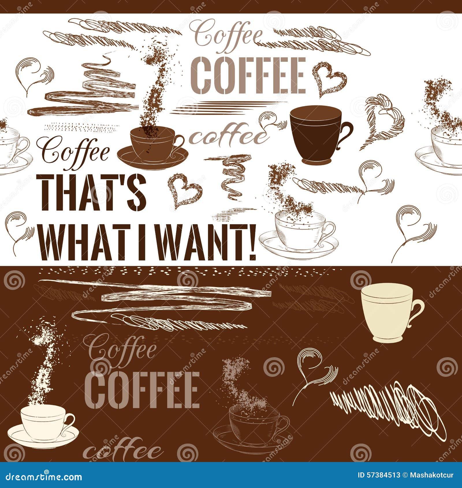 Koffie naadloos patroon met hand getrokken koffievoorwerpen
