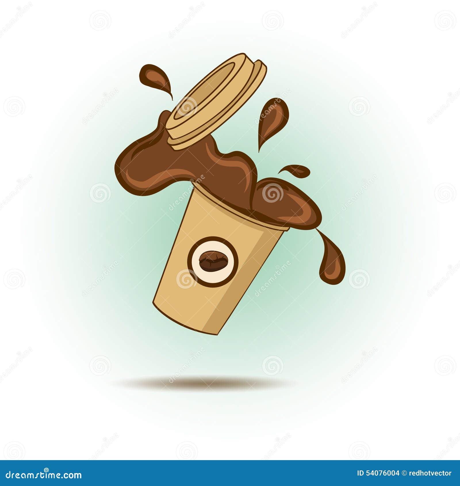 Koffie van mok wordt verdeeld die