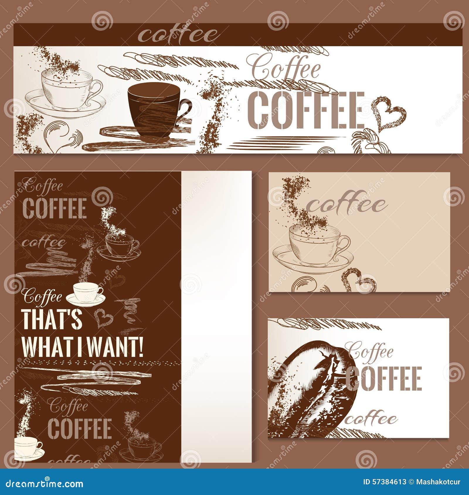 Koffie vectorbrochures die met hand getrokken koffievoorwerpen worden geplaatst