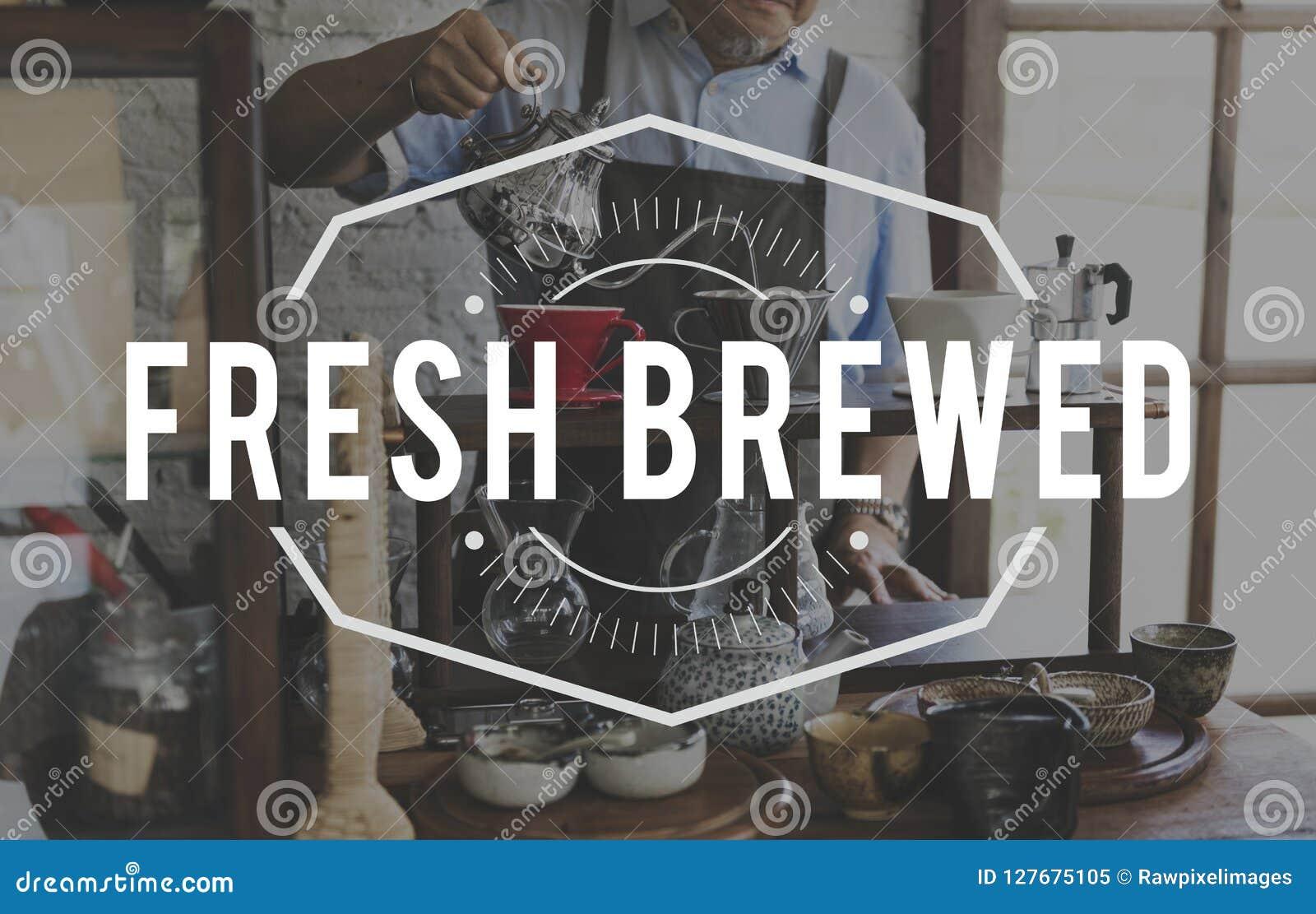 Koffie Verse Gebrouwen Word Grafische Zegelbanner
