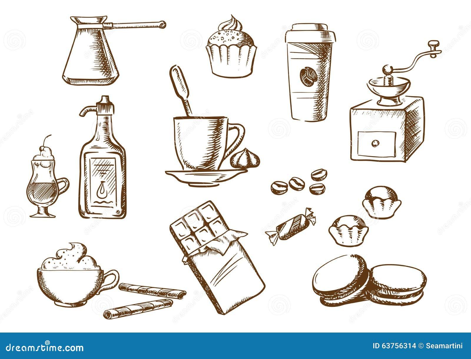 Koffiedranken, ingrediënten en dessertsschetsen
