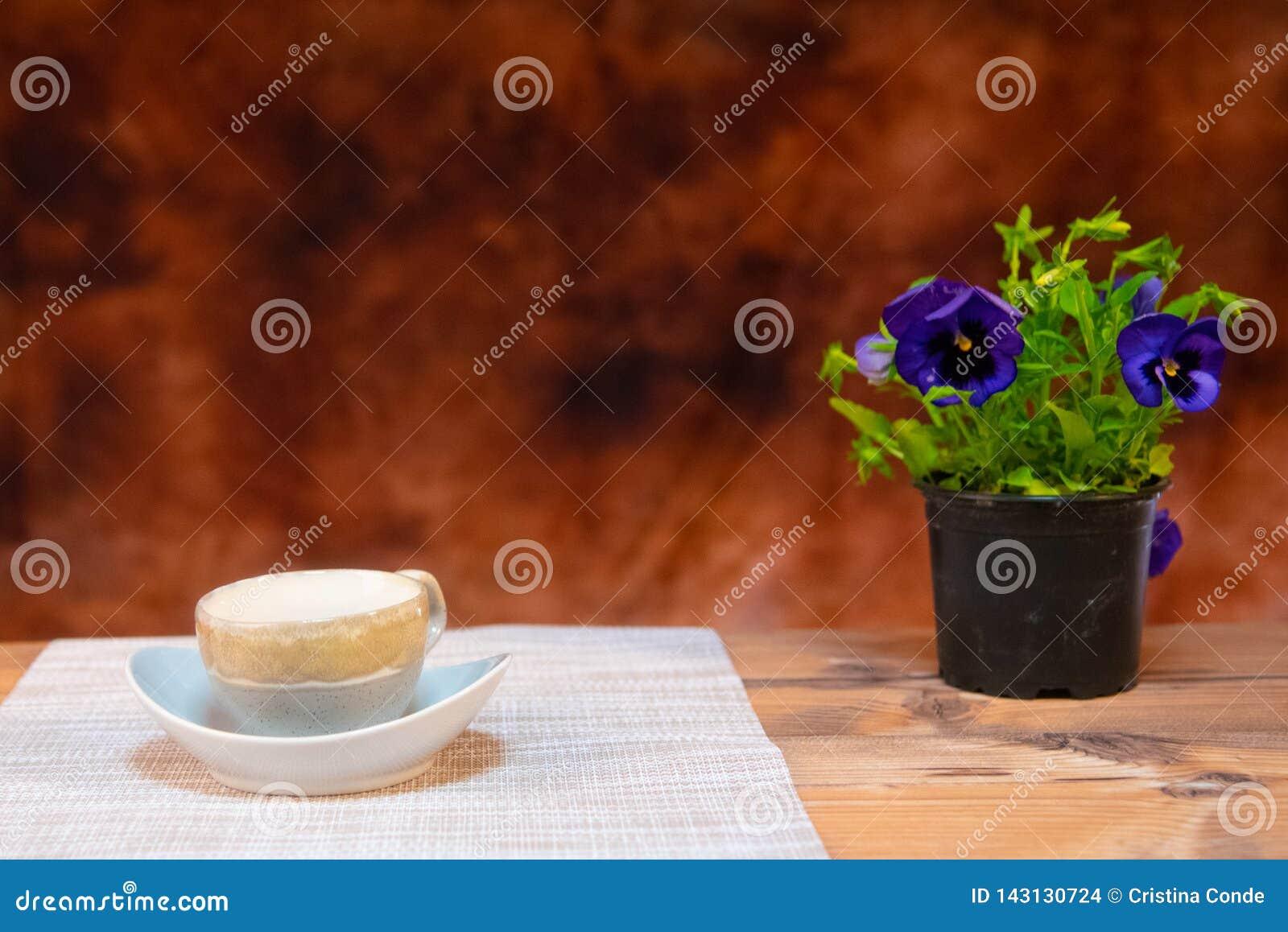 Koffiemelk en koekjes op bruine achtergrond