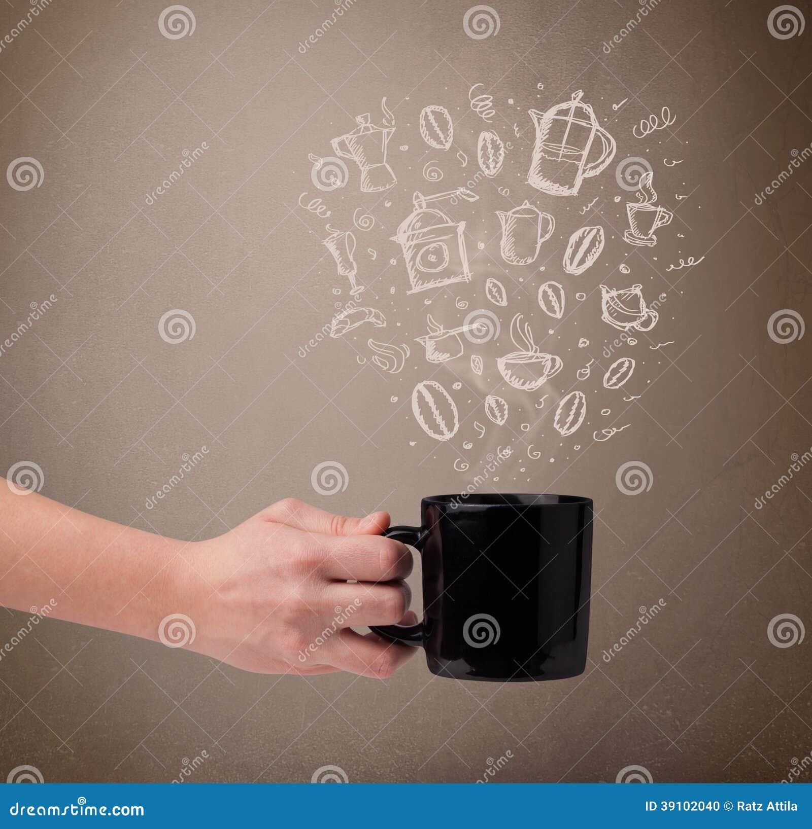 Koffiemok met hand getrokken keukentoebehoren