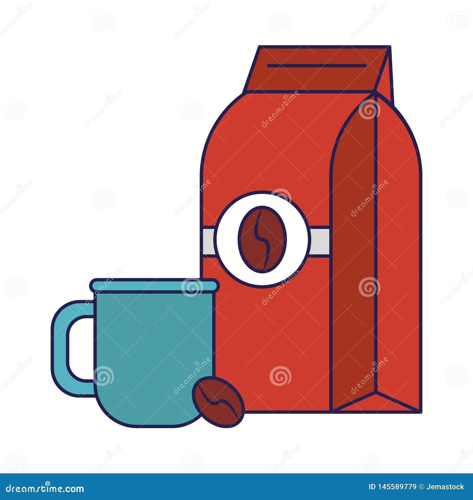 Koffiezak met koffieboon en kop blauwe lijnen wordt verzegeld die
