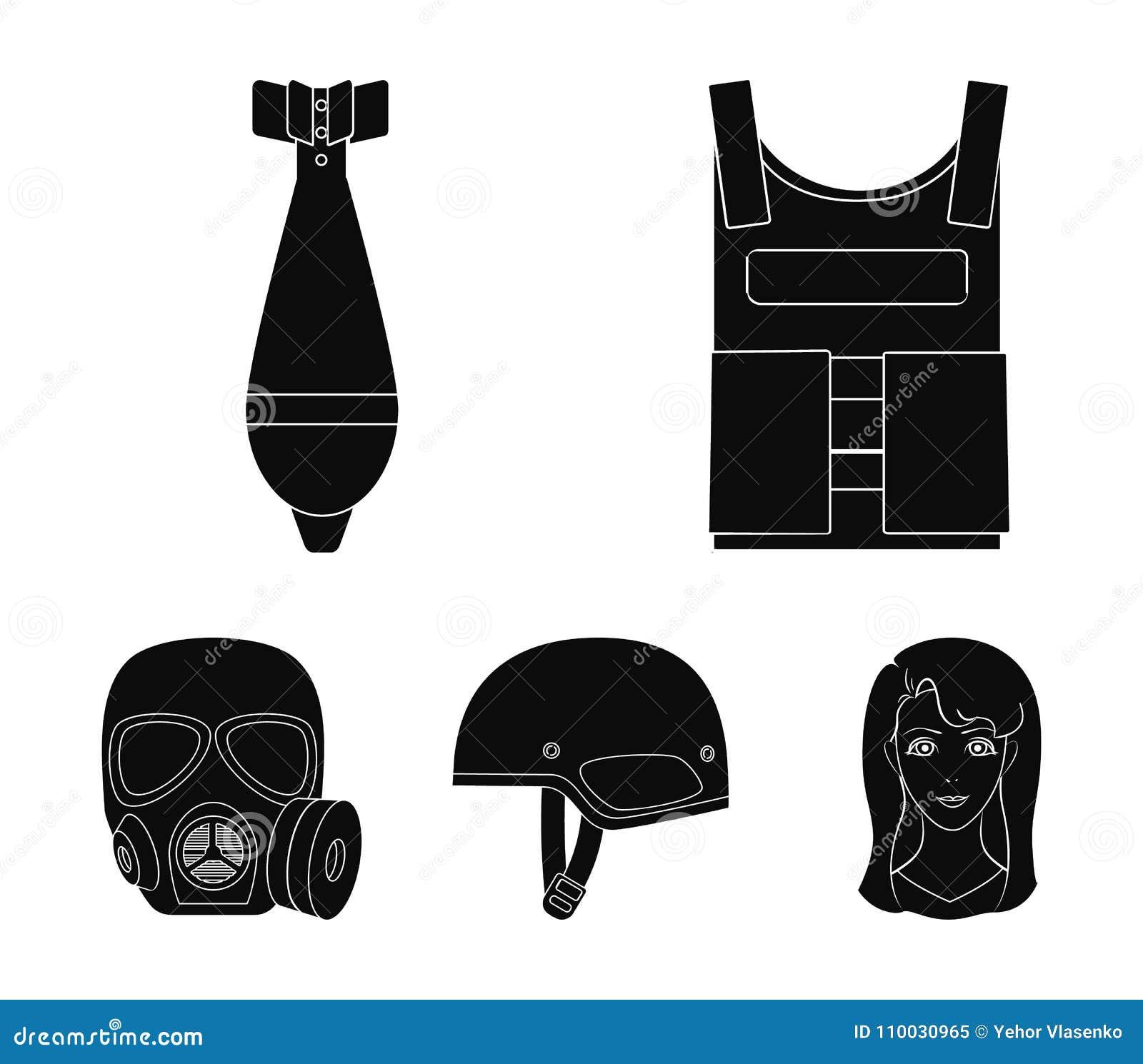 Kogelvrij vest, mijn, helm, gasmasker Pictogrammen van de militaire en leger de vastgestelde inzameling in de zwarte voorraad van