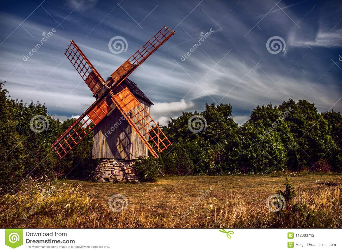 Download Koguva Windmill in Estonia stock photo. Image of forest - 112363712